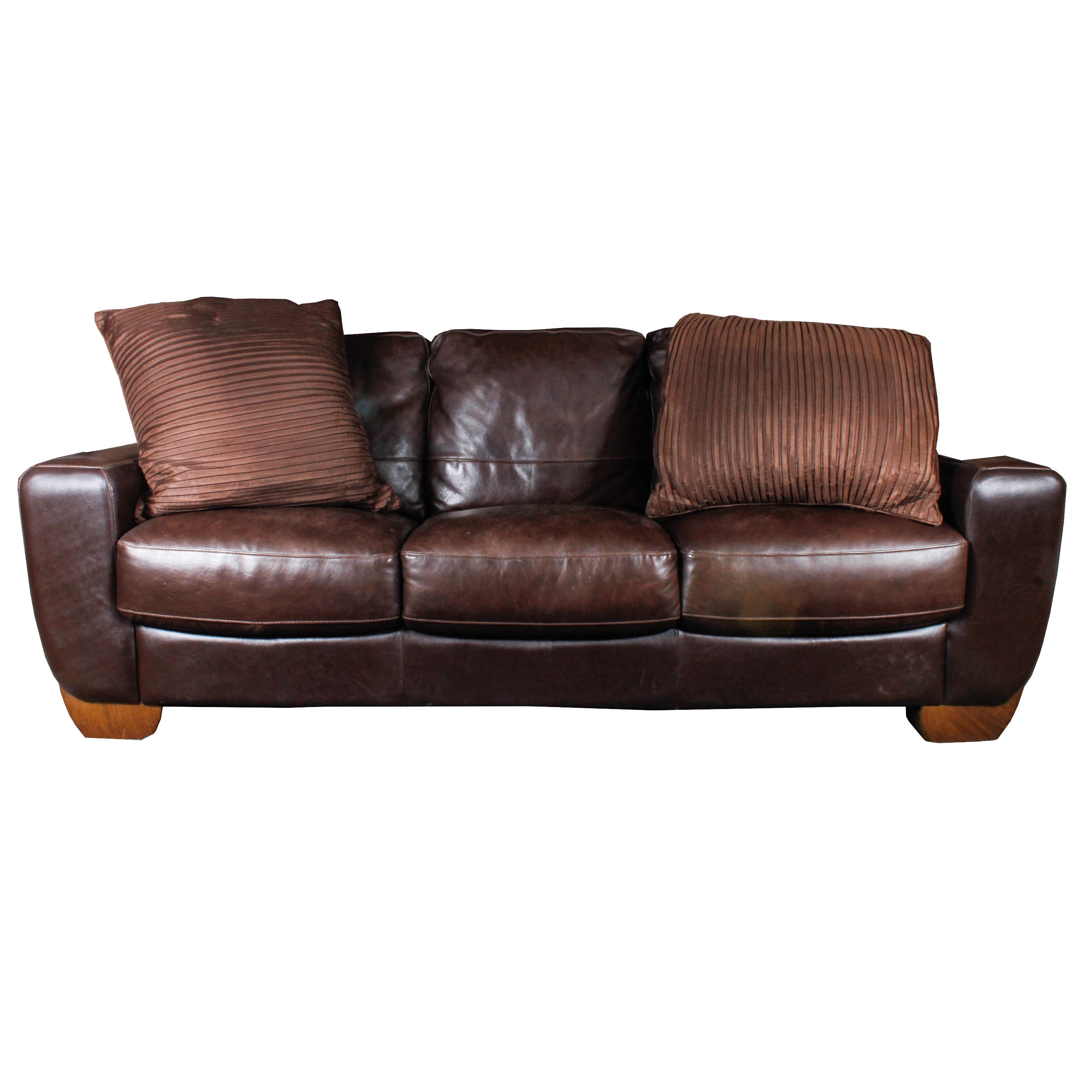 Contemporary Brown Faux Leather Sofa