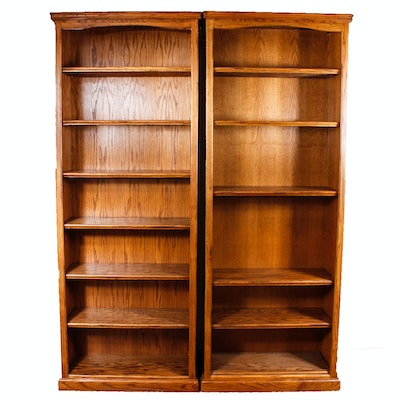 Matching Pair Of Oak Bookcases