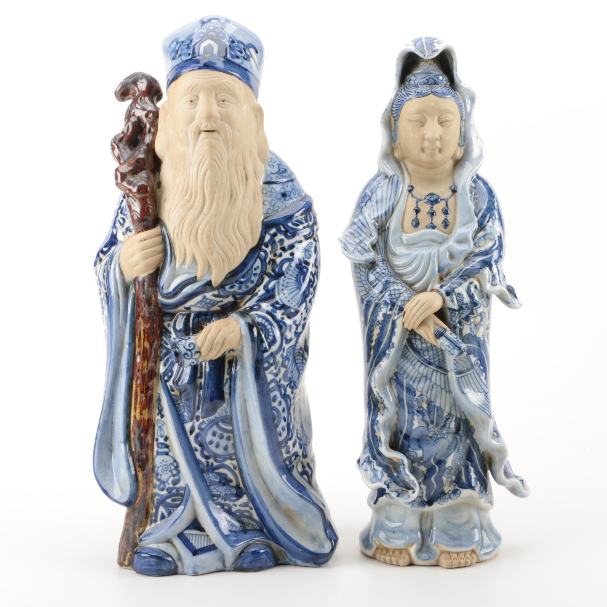 Ceramic Blue and White Asian Inspired Figurines