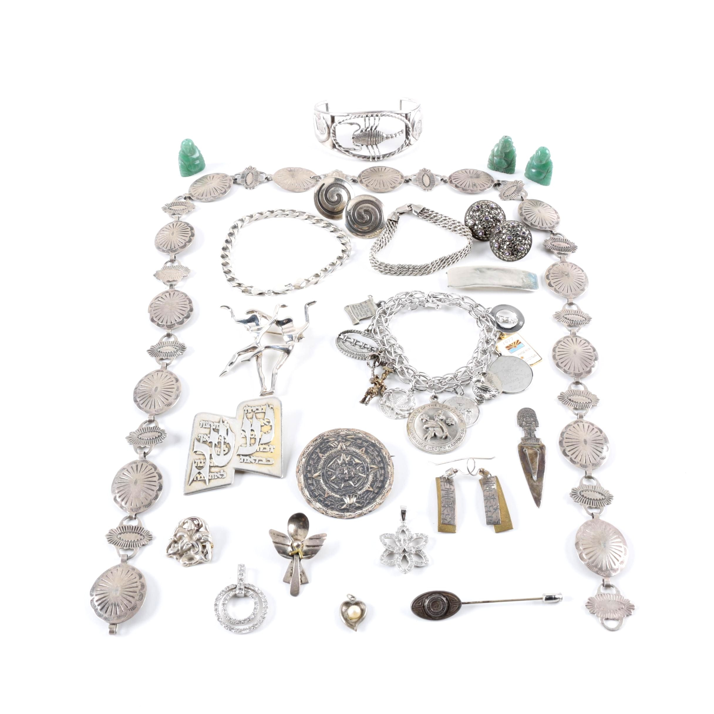 Generous Assortment of Sterling Silver Jewelry Including Judith Jack