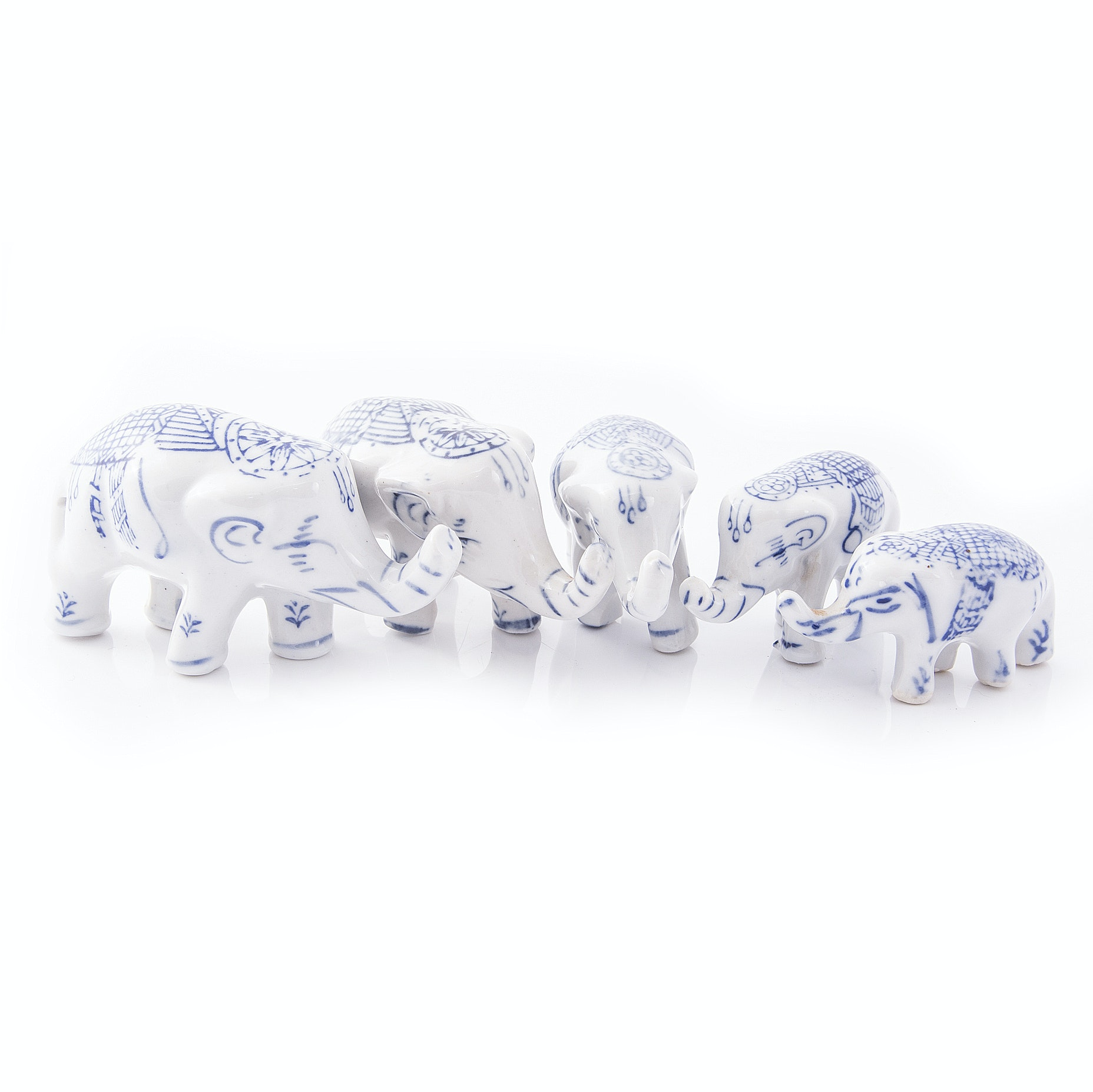 Blue and White Ceramic Elephants