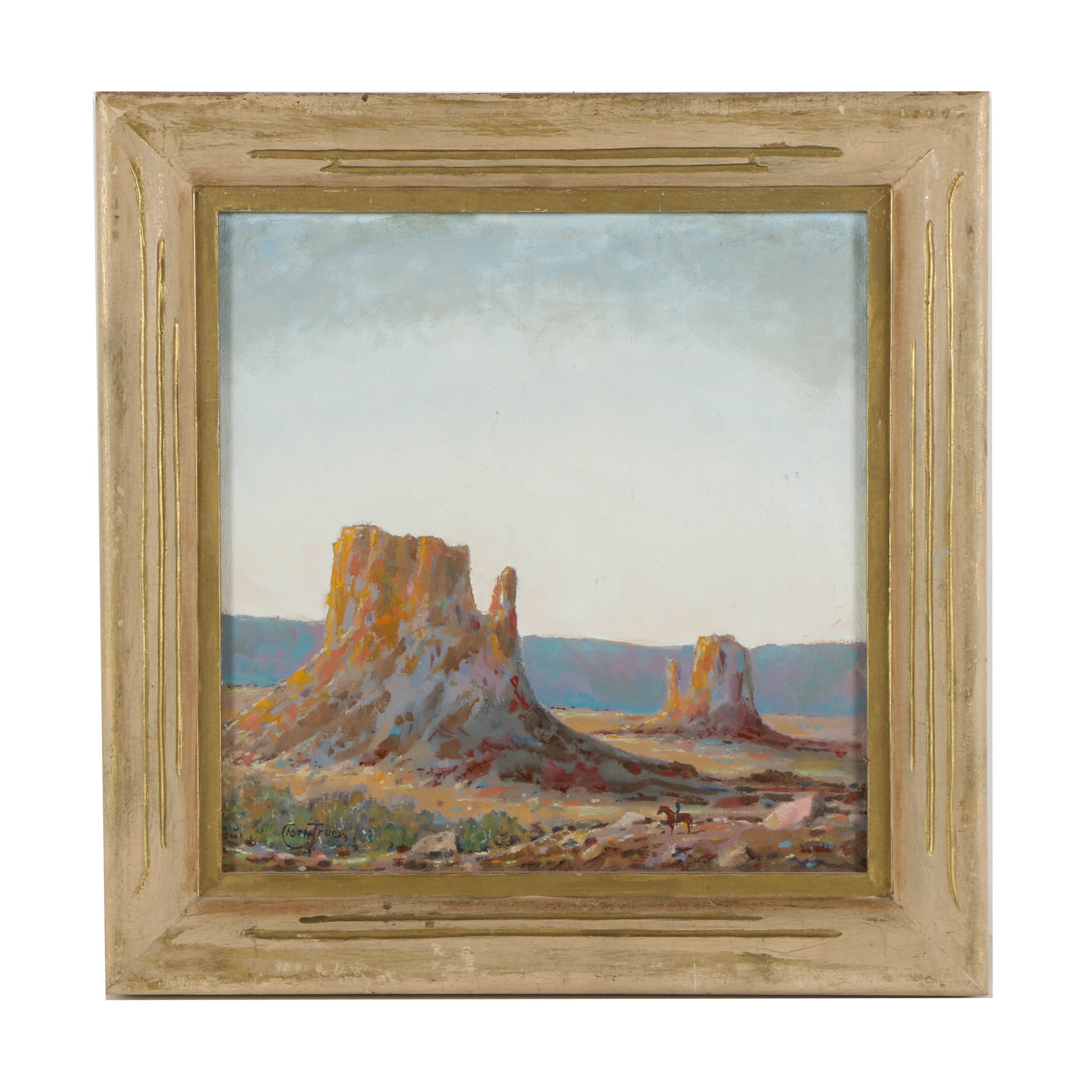 "Clark True Oil Painting on Canvas Board ""Monument Valley"""
