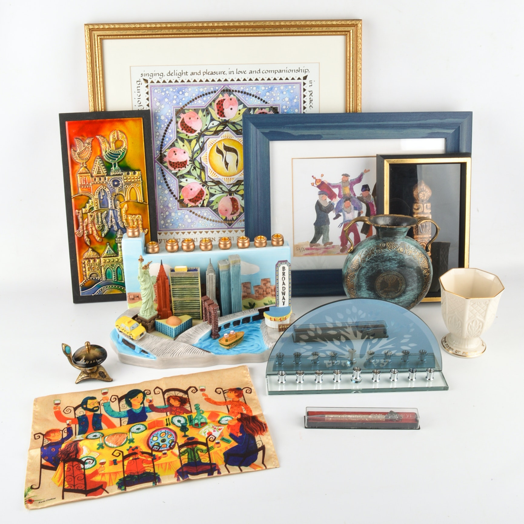 Collection of Judaica Including Decor, Menorahs and More
