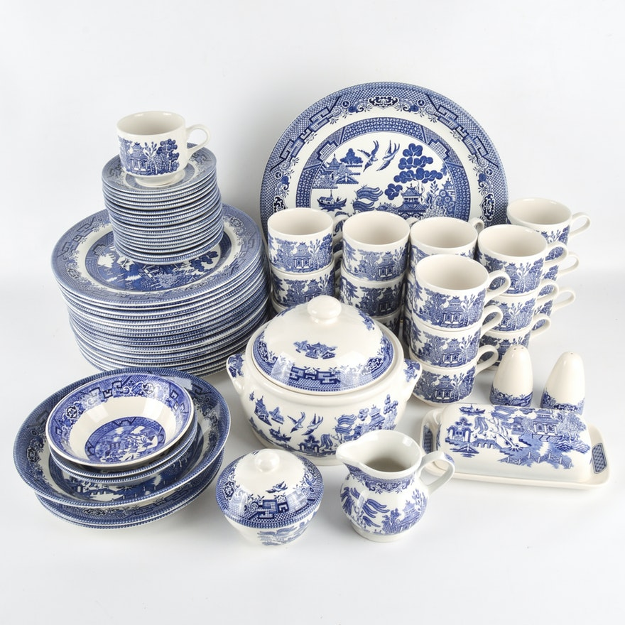 Generous Collection Of Churchill England Blue Willow China
