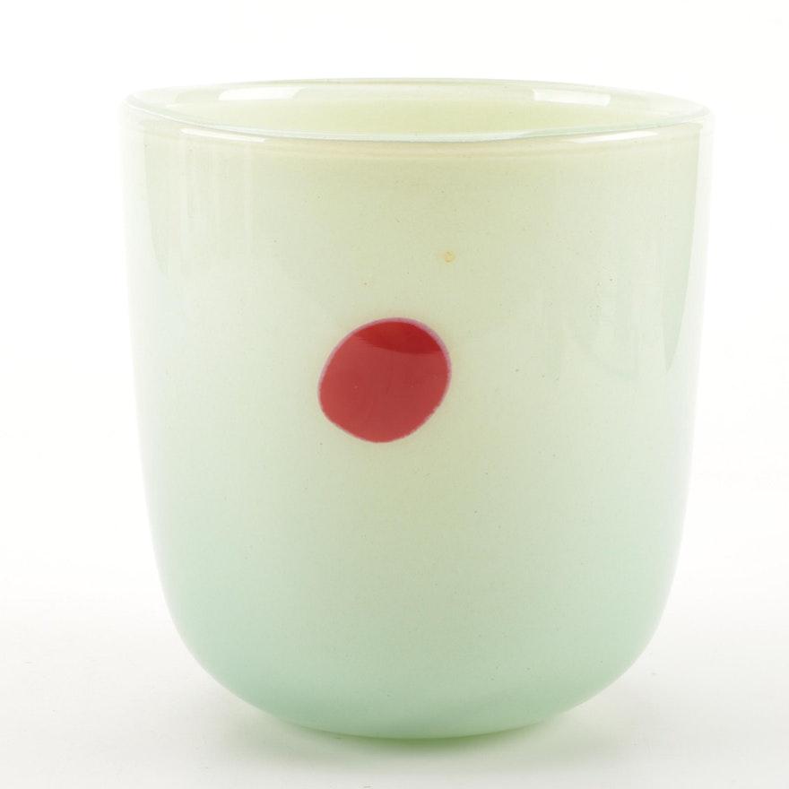 Signed Henry Dean Belgium Art Glass Vase Ebth