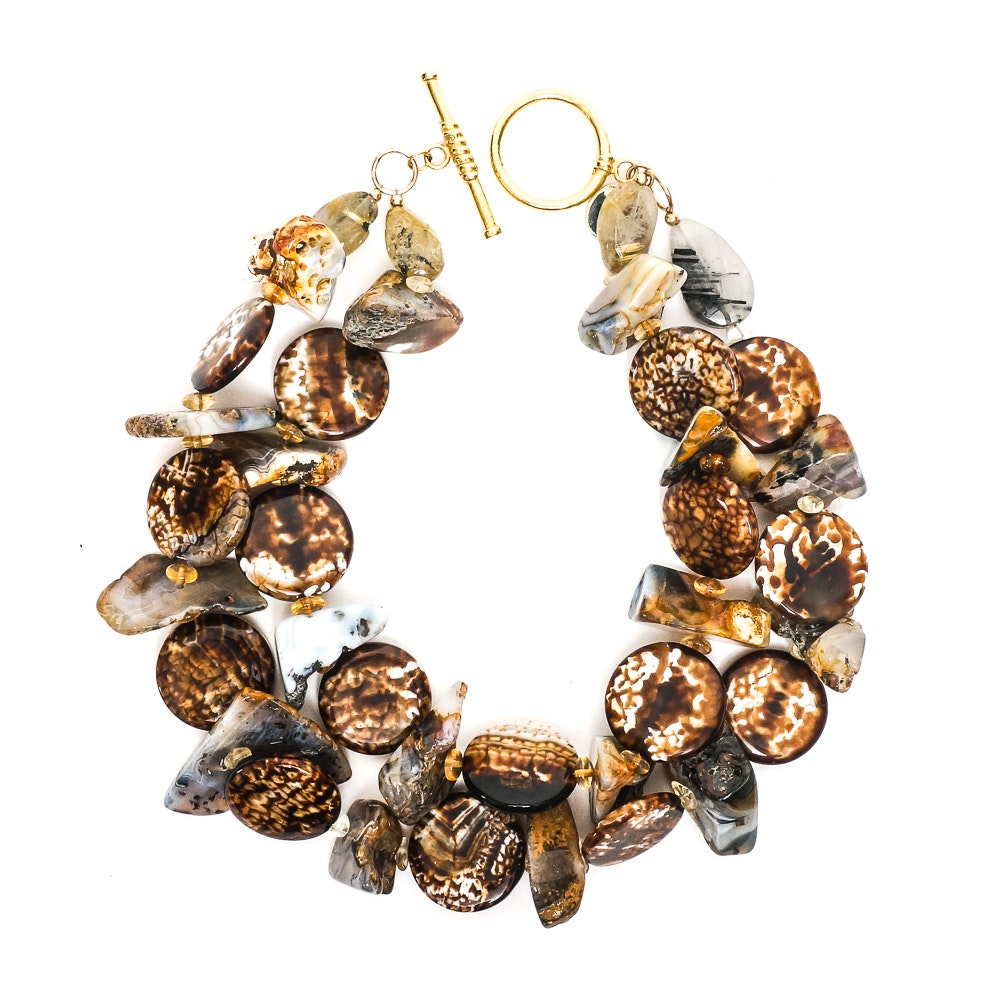 Haute Collier Mixed Agate, Citrine, and Rutilated Quartz Toggle Necklace
