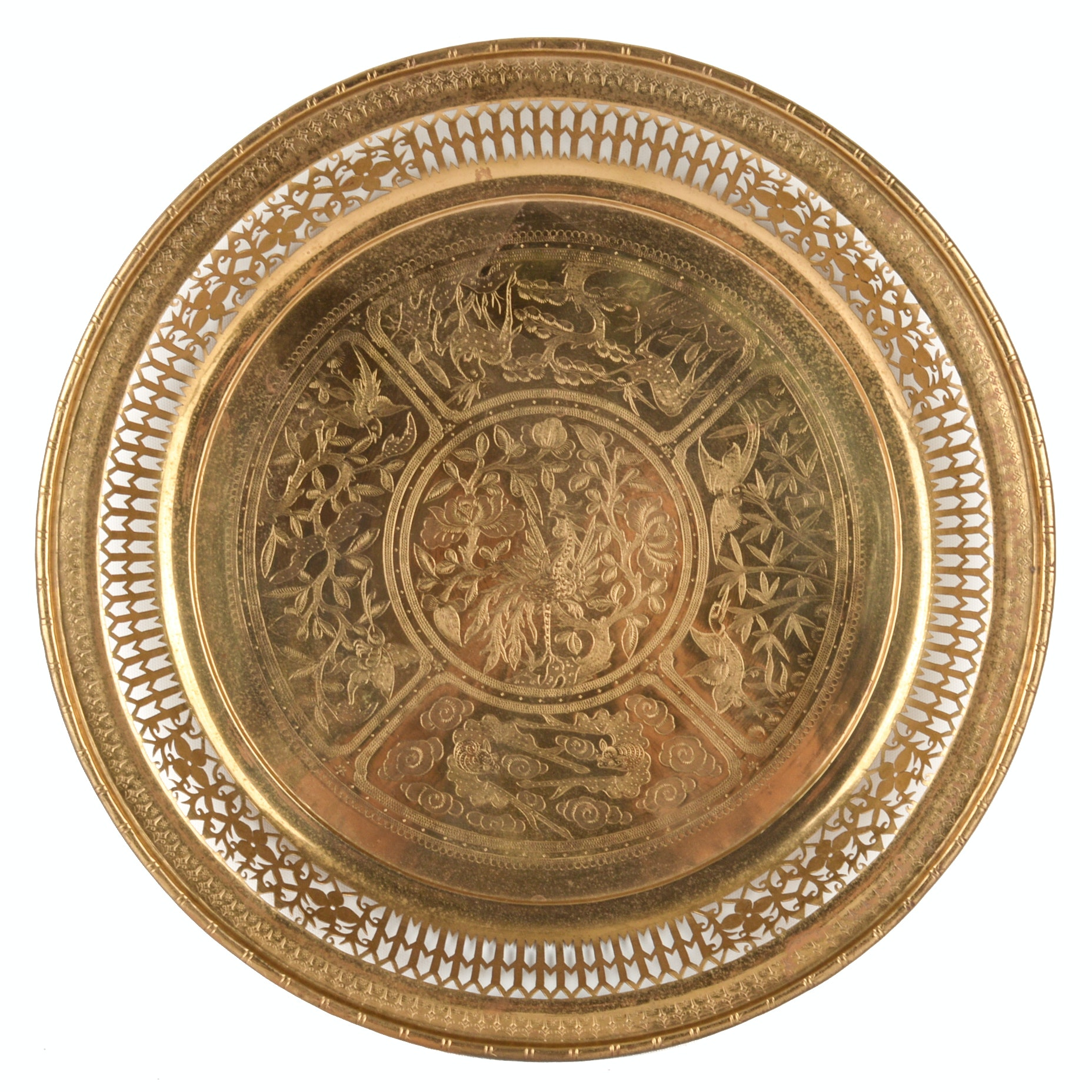 Vintage Pierced Brass Tray, Made in India