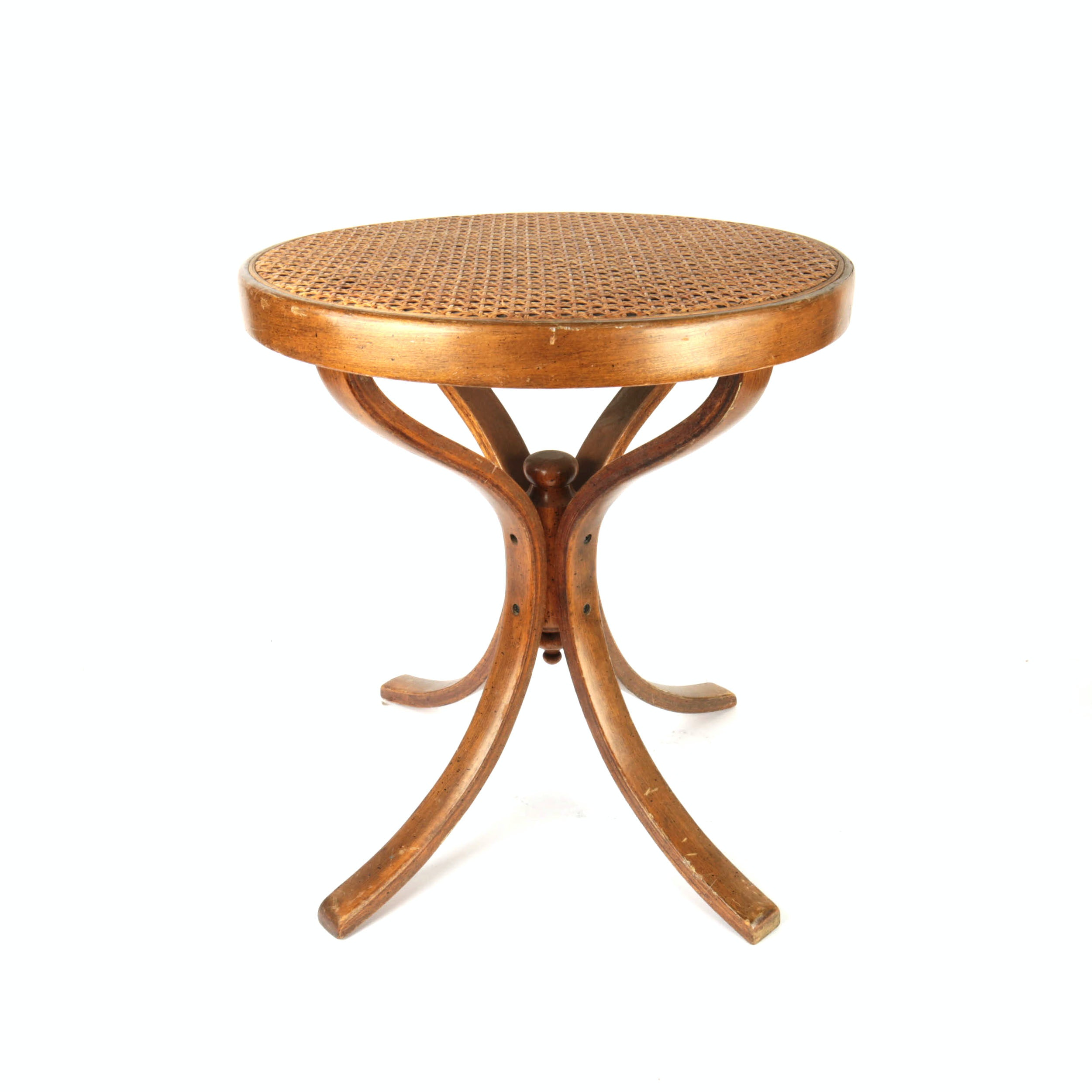 Vintage Walnut Side Table with Caned Top