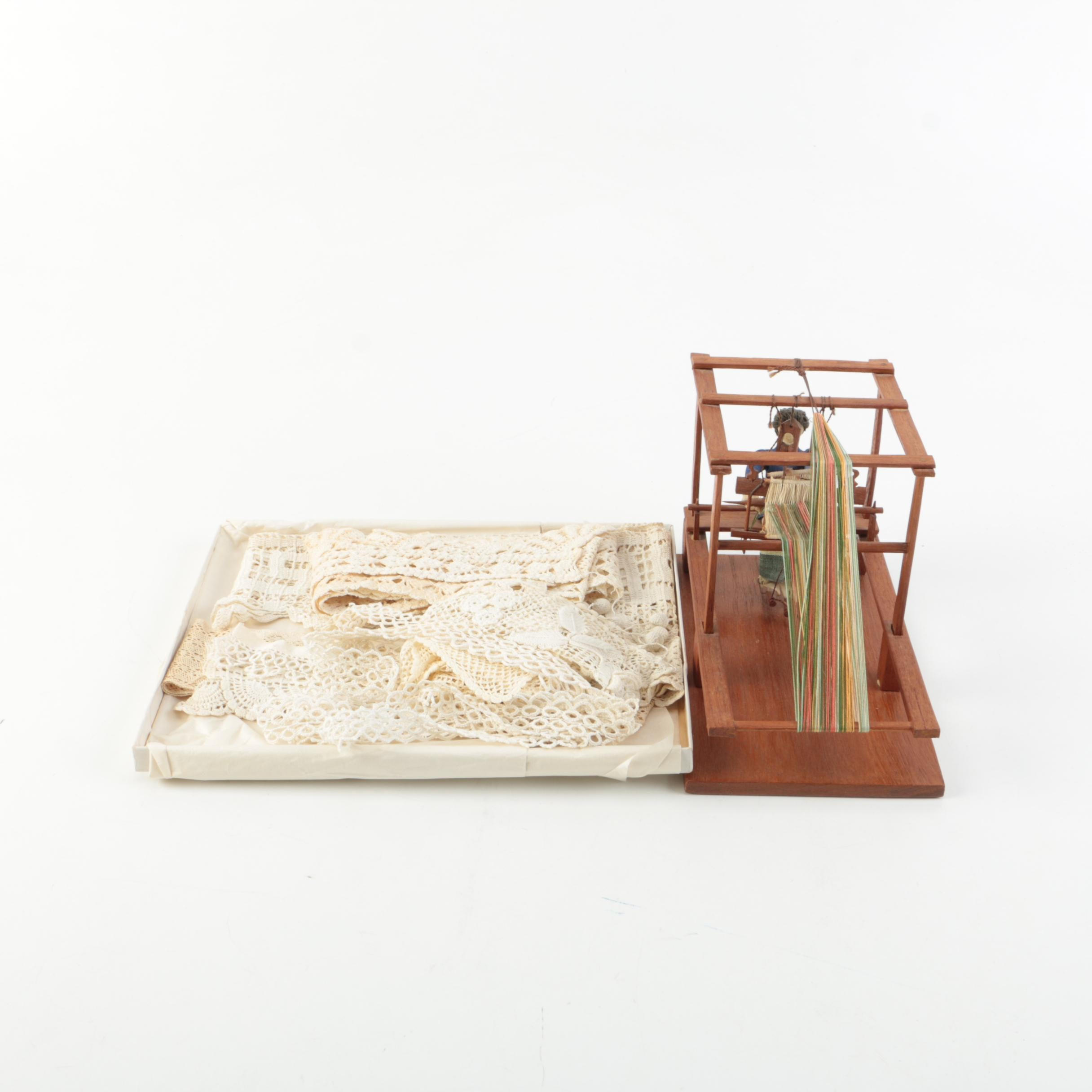 Vintage Lace and Model of Woman at the Loom