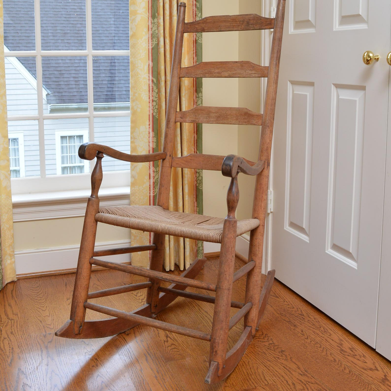 Antique Ladder Back Rocking Chair with Rush Seat