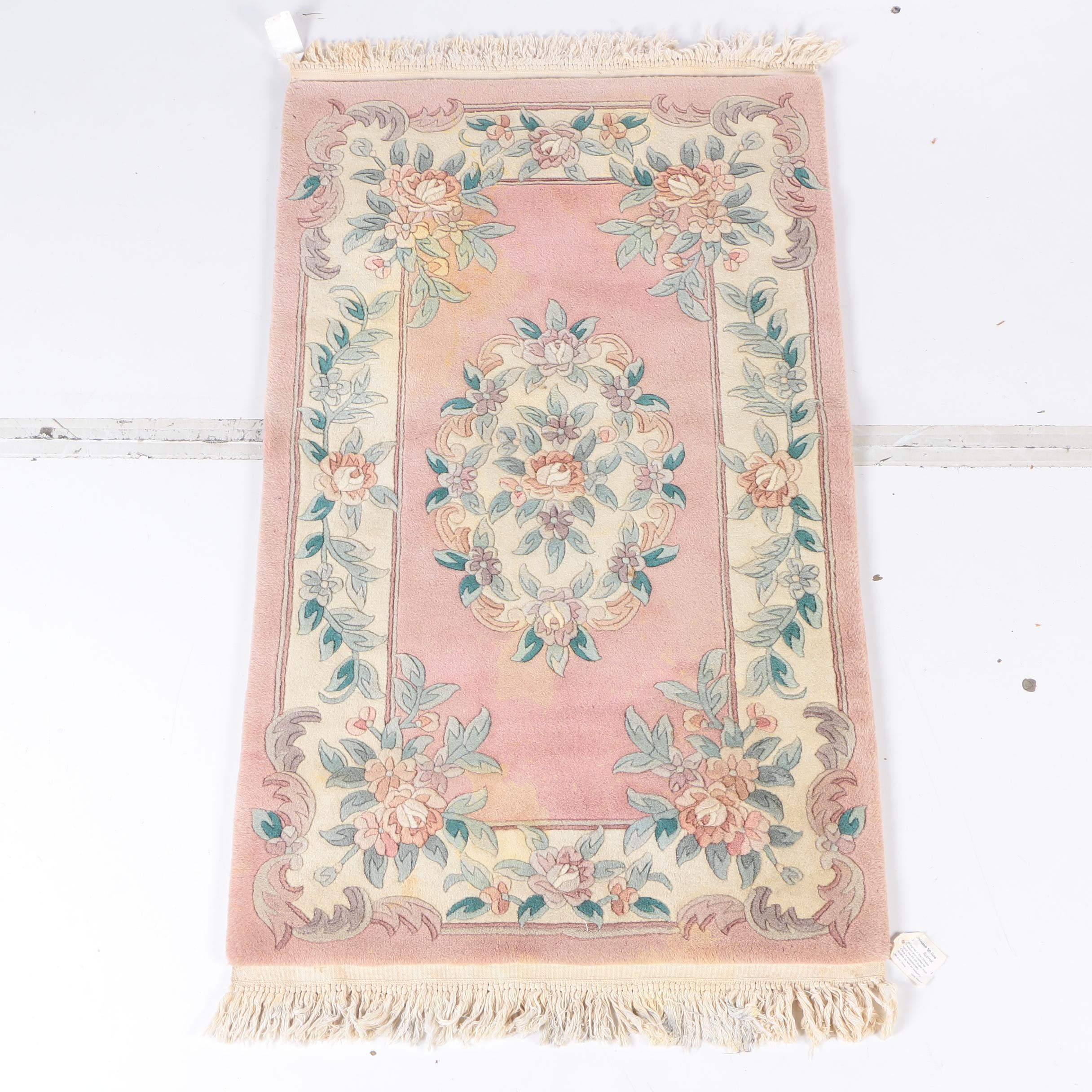 Hand-Knotted Chinese Carved Wool Accent Rug