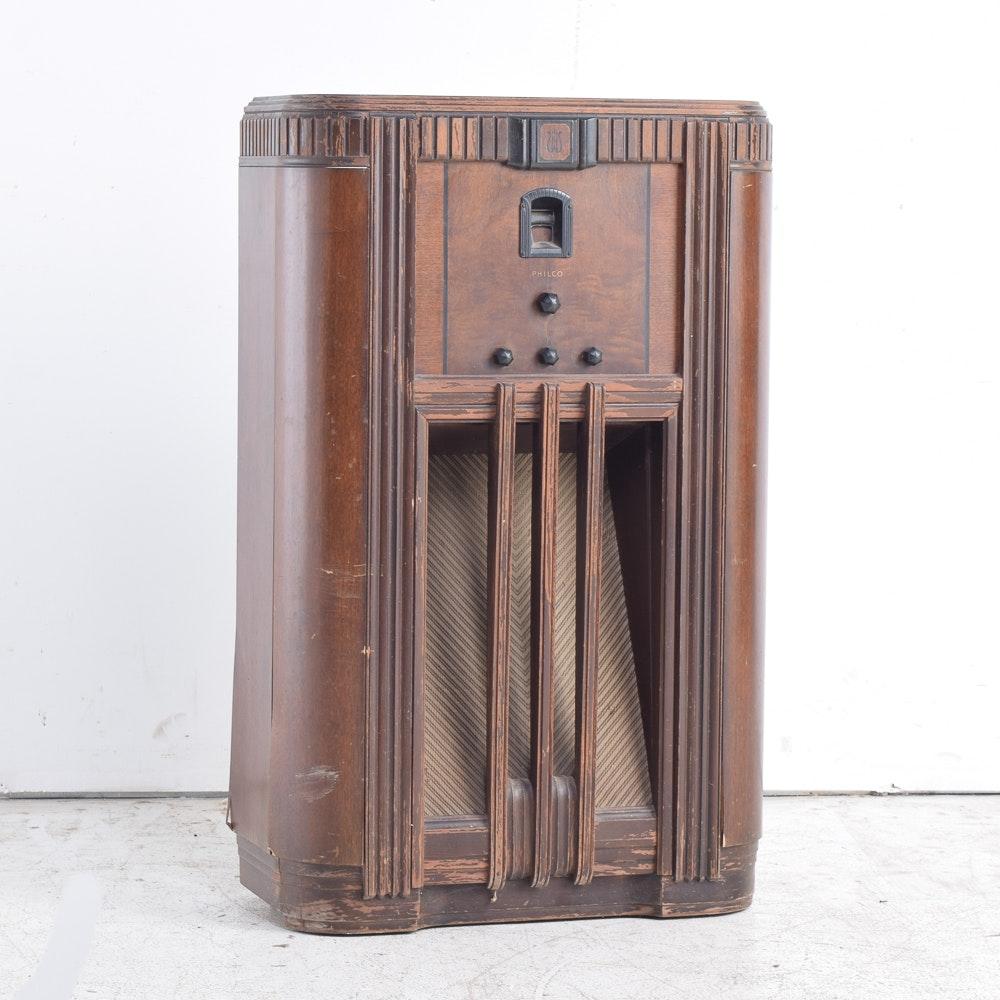 Vintage Art Deco Chairside Tube Radio by Philco