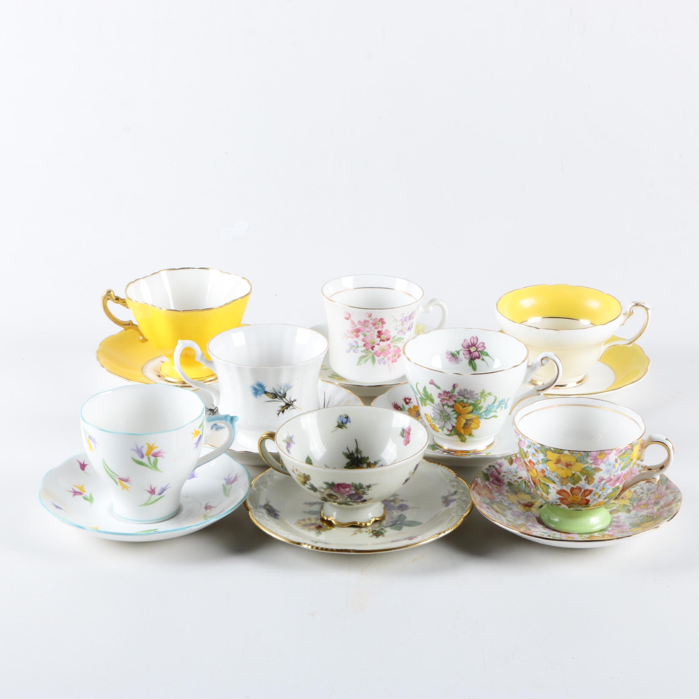 Vintage Bone China and Porcelain Teacups and Saucers Including Foley China