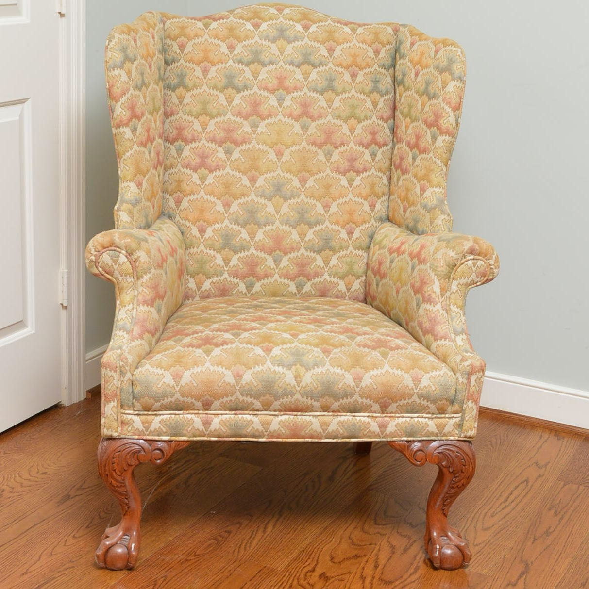 Vintage Queen Anne Style Upholstered Wingback Armchair