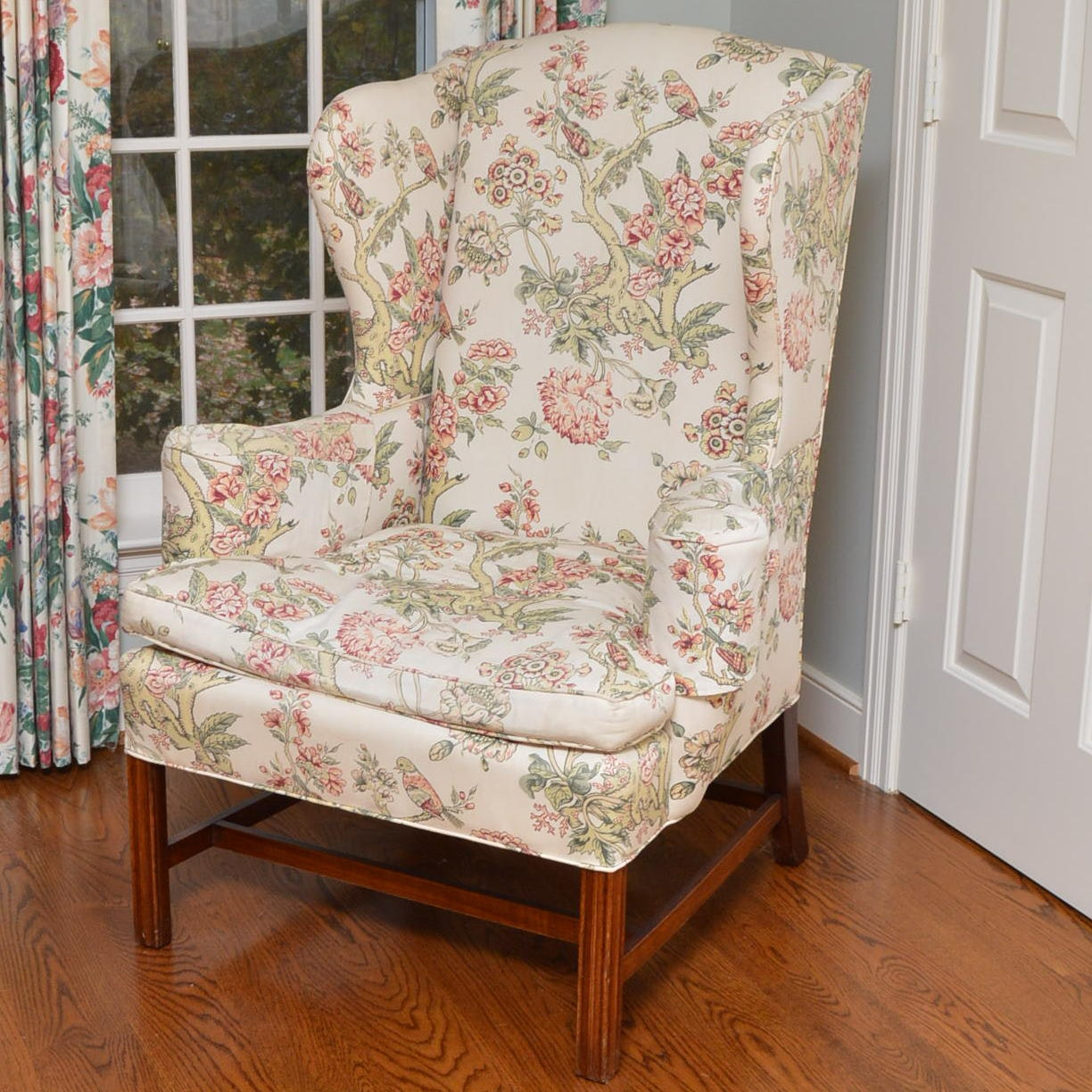 Vintage Chippendale Style Upholstered Wingback Armchair