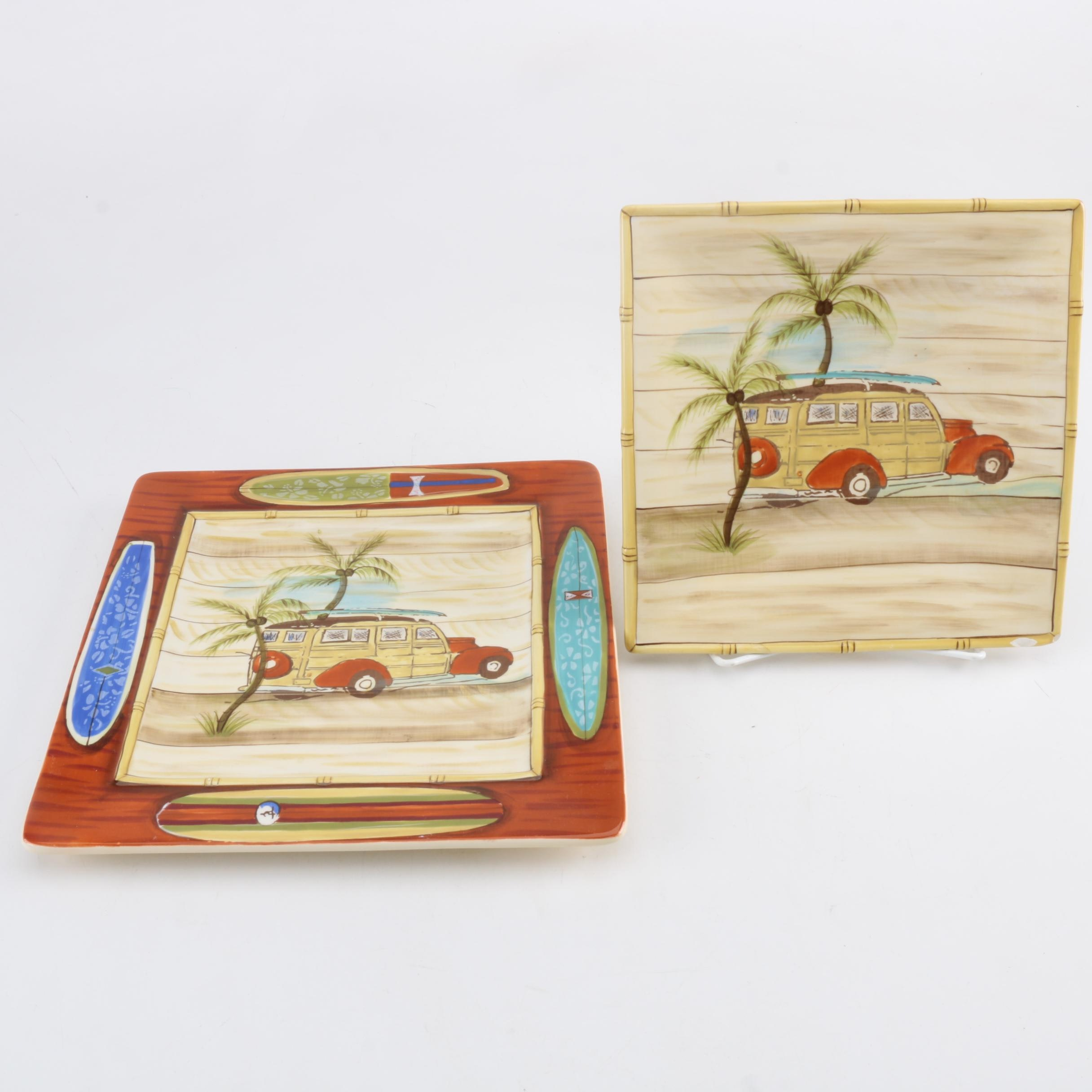"Clay Art ""Vintage Surf"" Hand Painted Plates"
