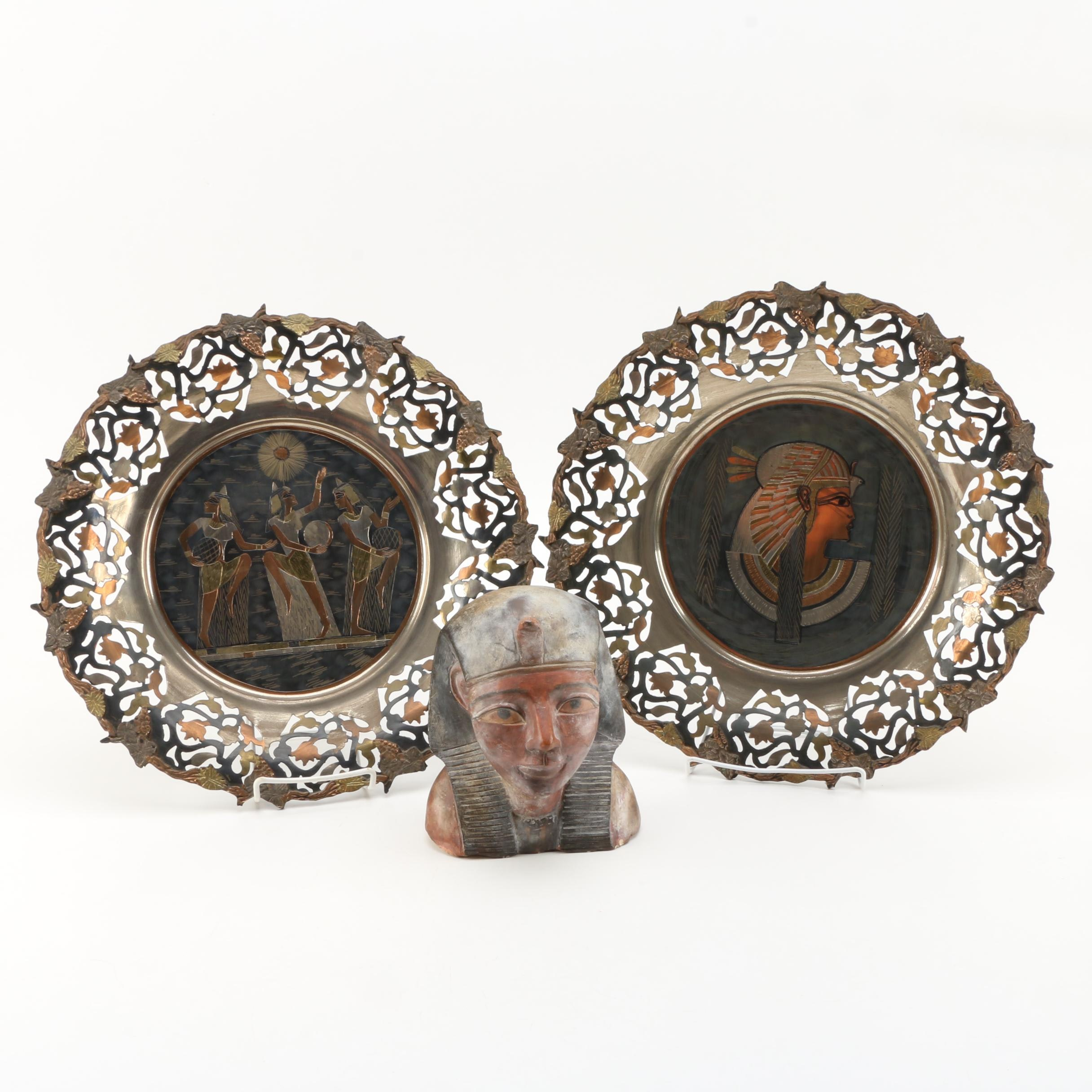 Egyptian-Themed Decorative Plates and Bust