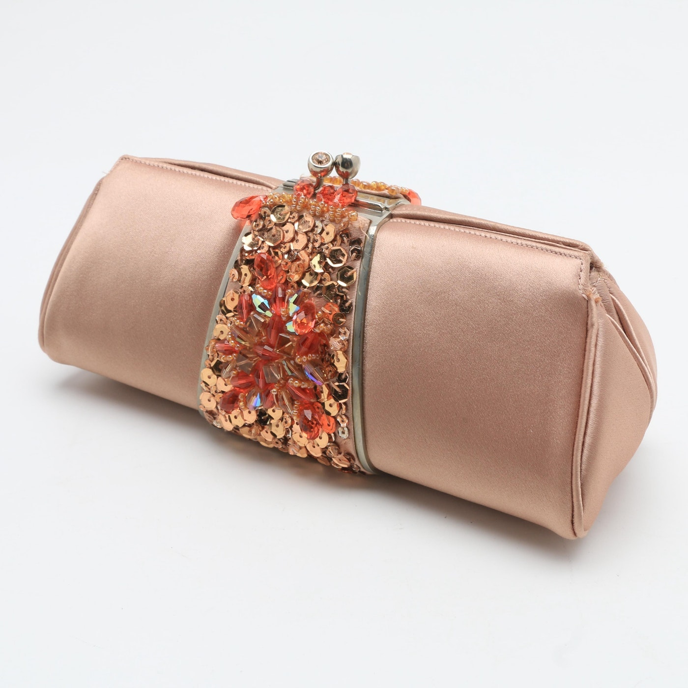 Judith Leiber Dusky Pink Satin Beaded Evening Clutch