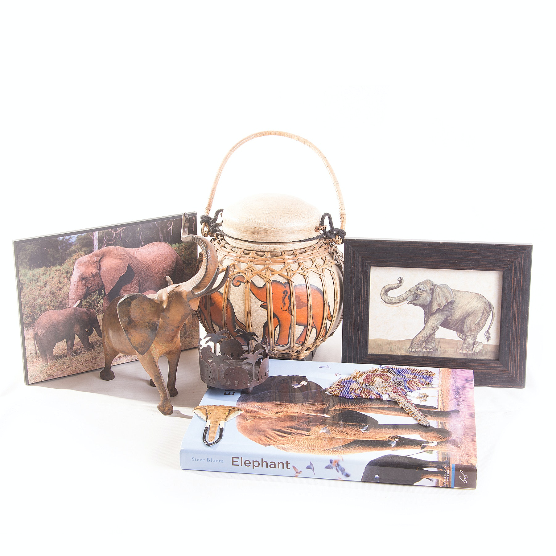 Assortment of Elephant Figurines and Accessories