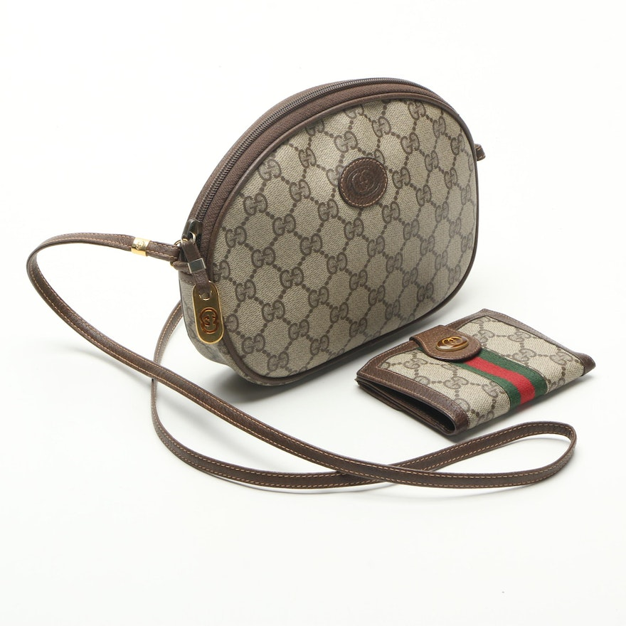 db8a030341b6 Gucci Coated Canvas Crossbody Bag with Wallet : EBTH