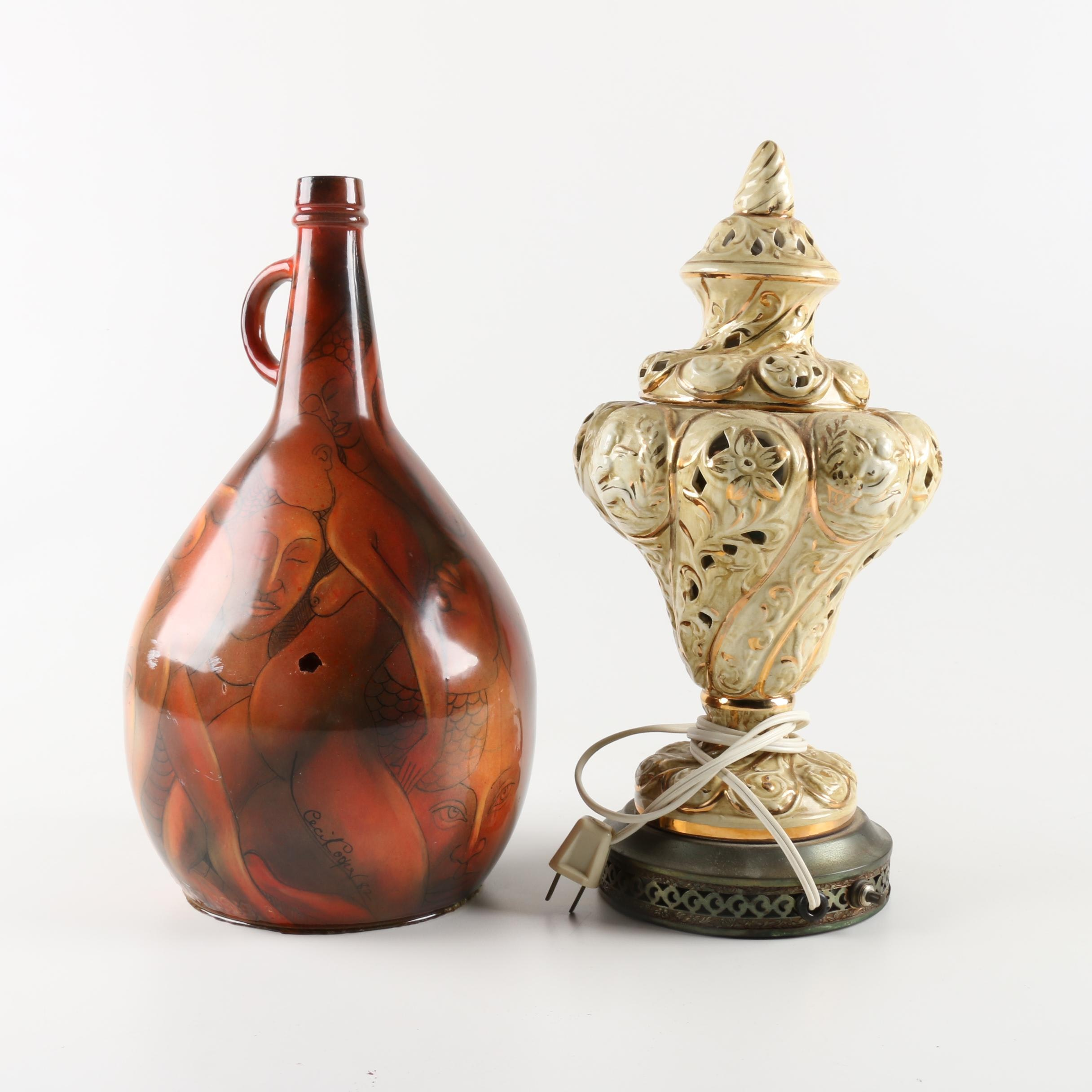 Art Jug and Ceramic Lamp