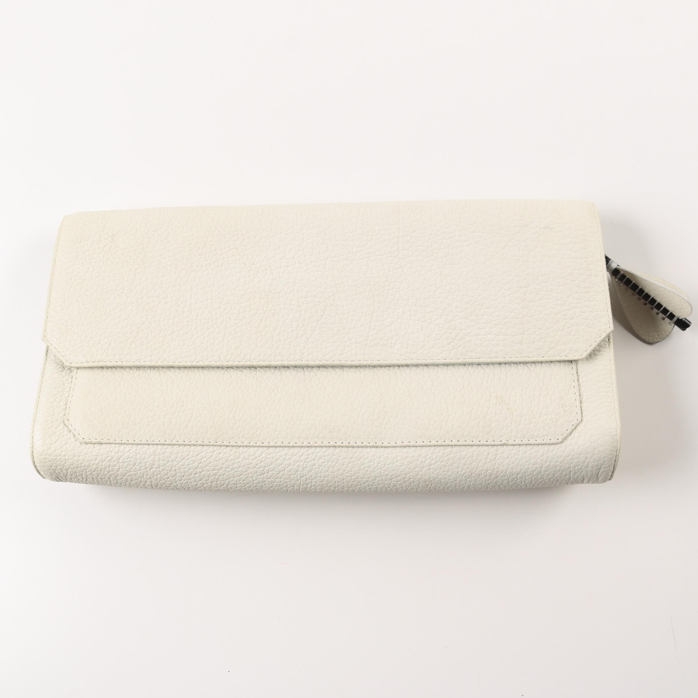 Parabellum White Pebbled Leather Didion Clutch