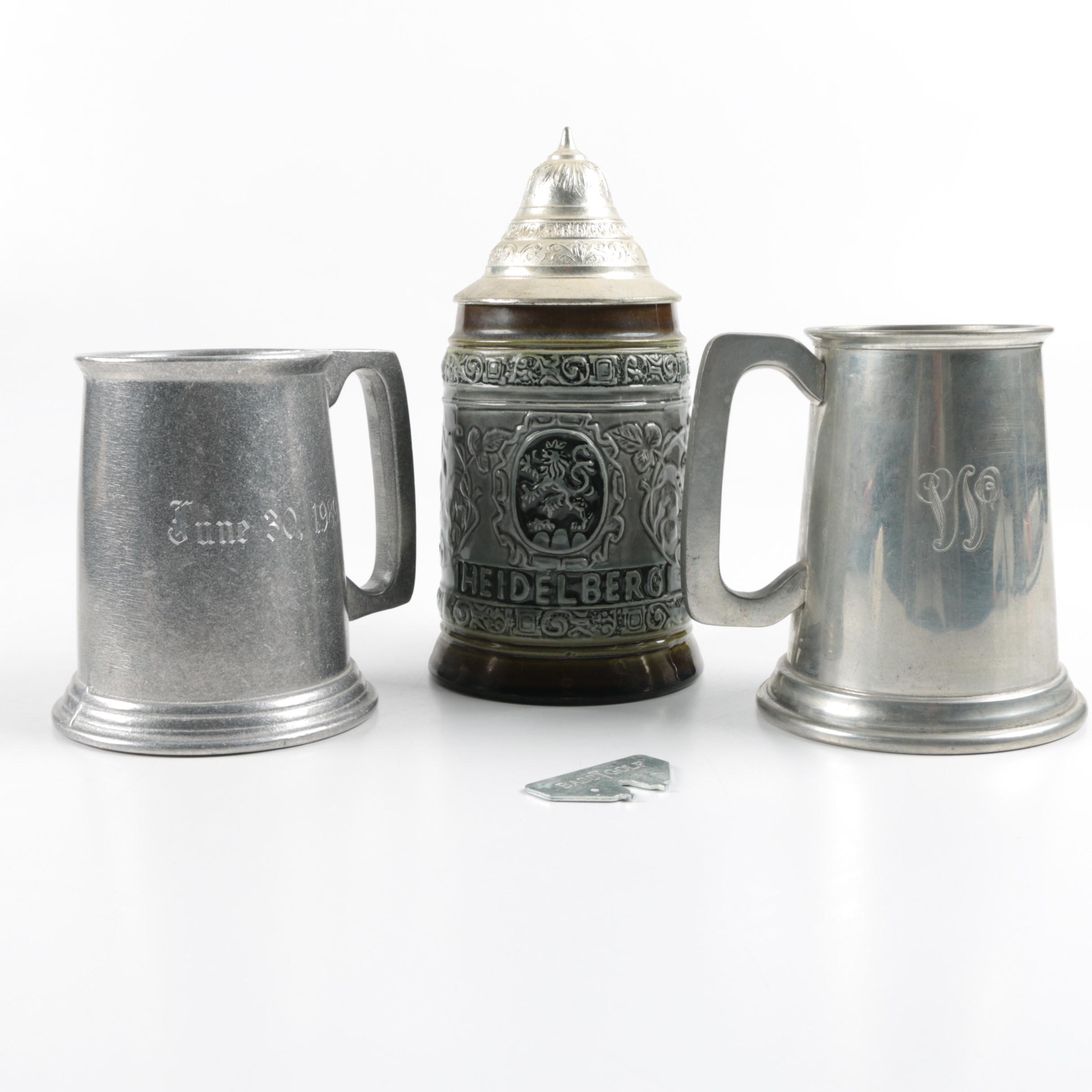 Original King Lidded Stein and Pewter Steins