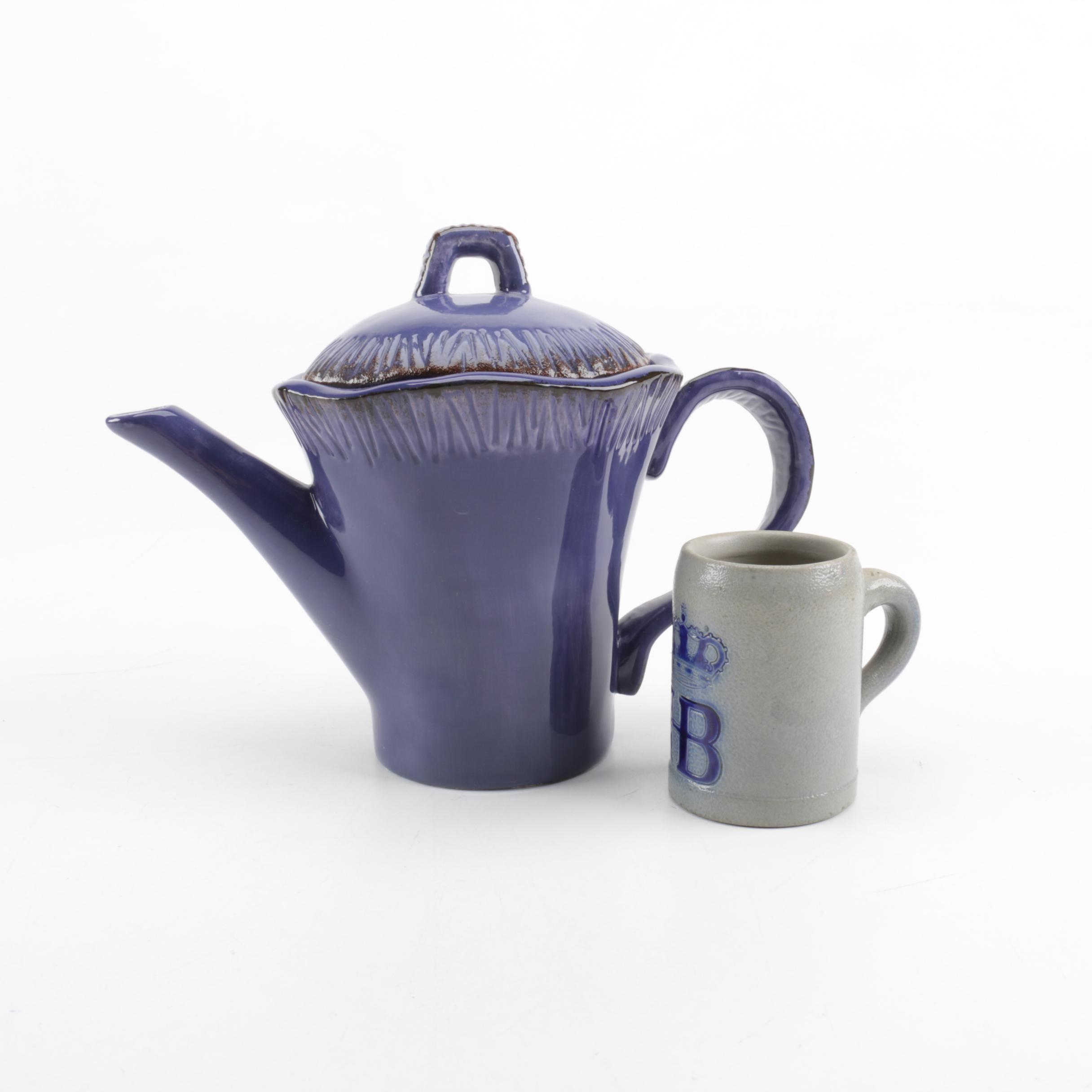Bella Casa by Ganz Pitcher and a Hofbrauhaus Ceramic Mug