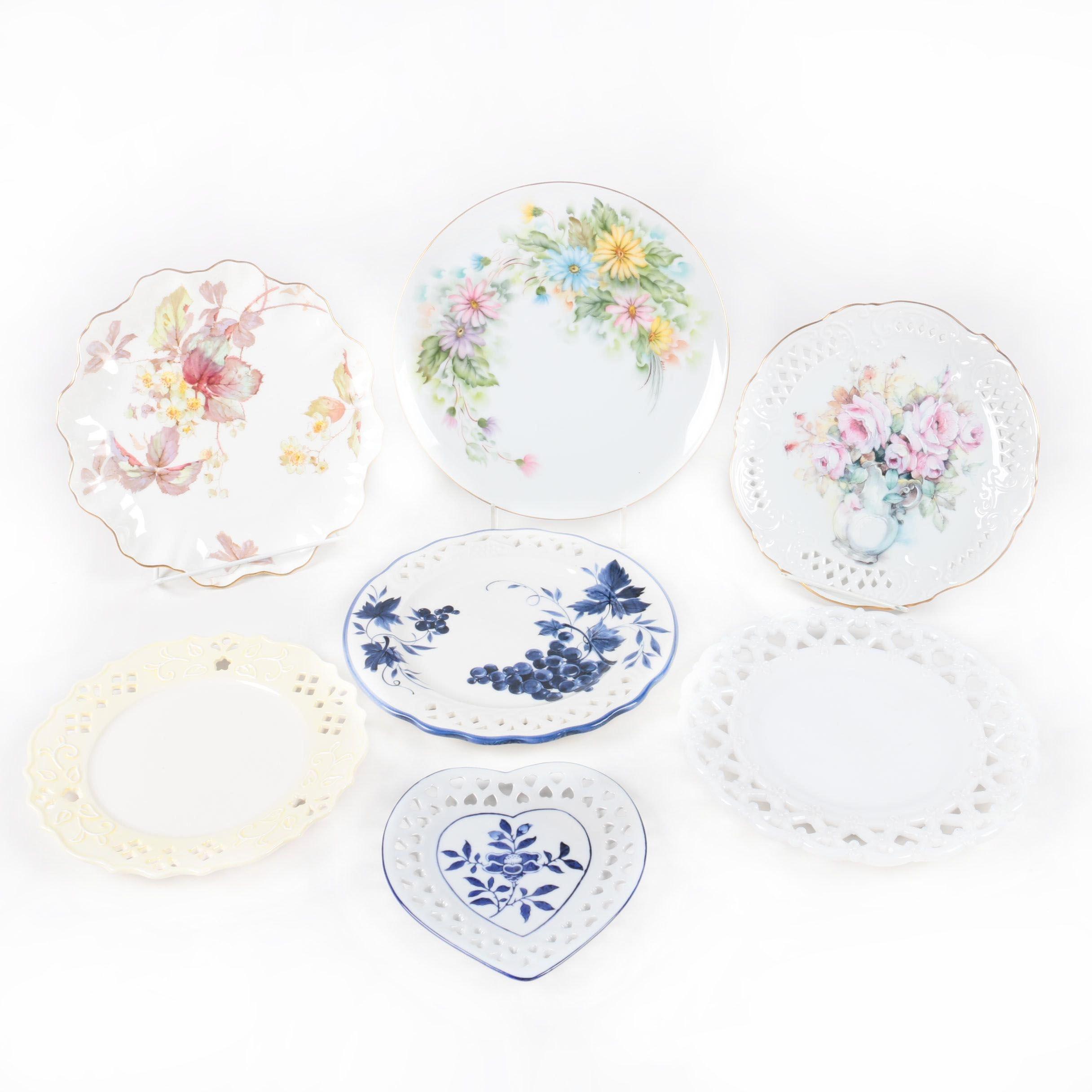 Seven Decorative Floral Patterned Ceramic Plates