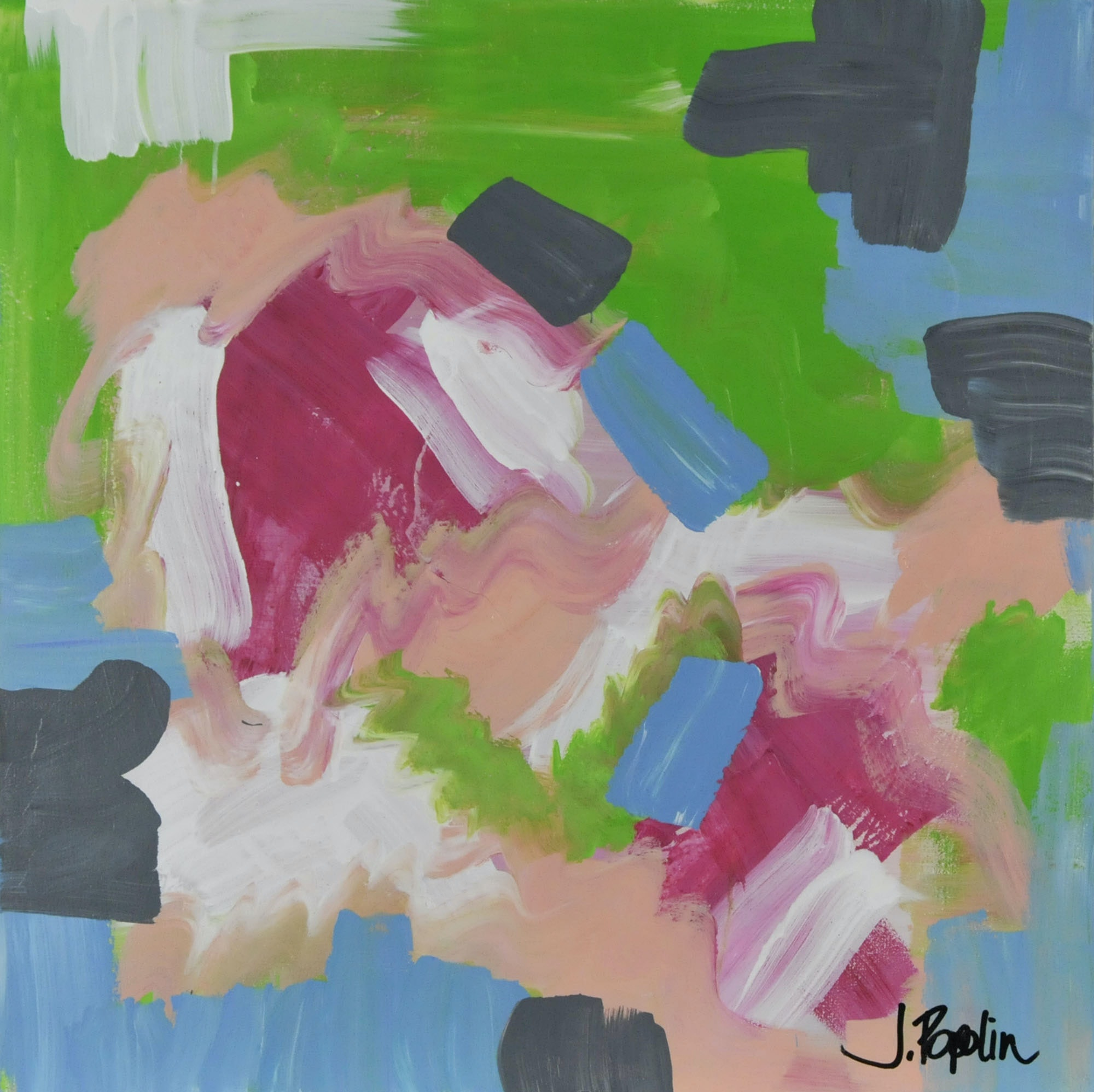 "J. Popolin Original Acrylic on Canvas ""Green Blue Pink Grey and White"""