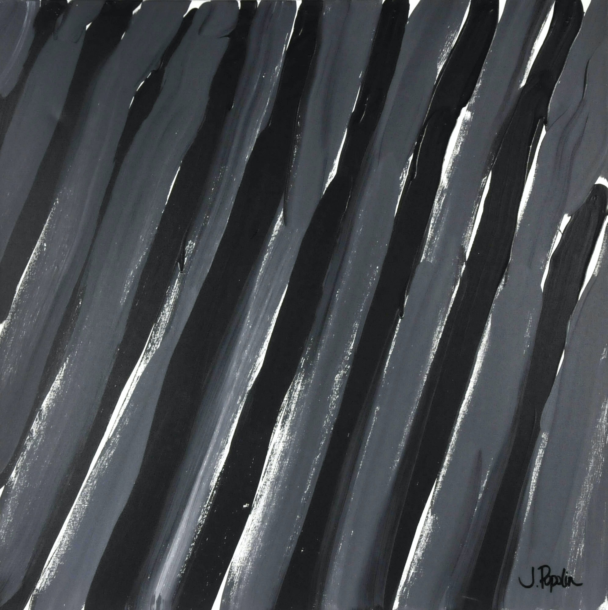 "J. Popolin Original Acrylic on Canvas ""Black and Grey Diagonal Stripes"""