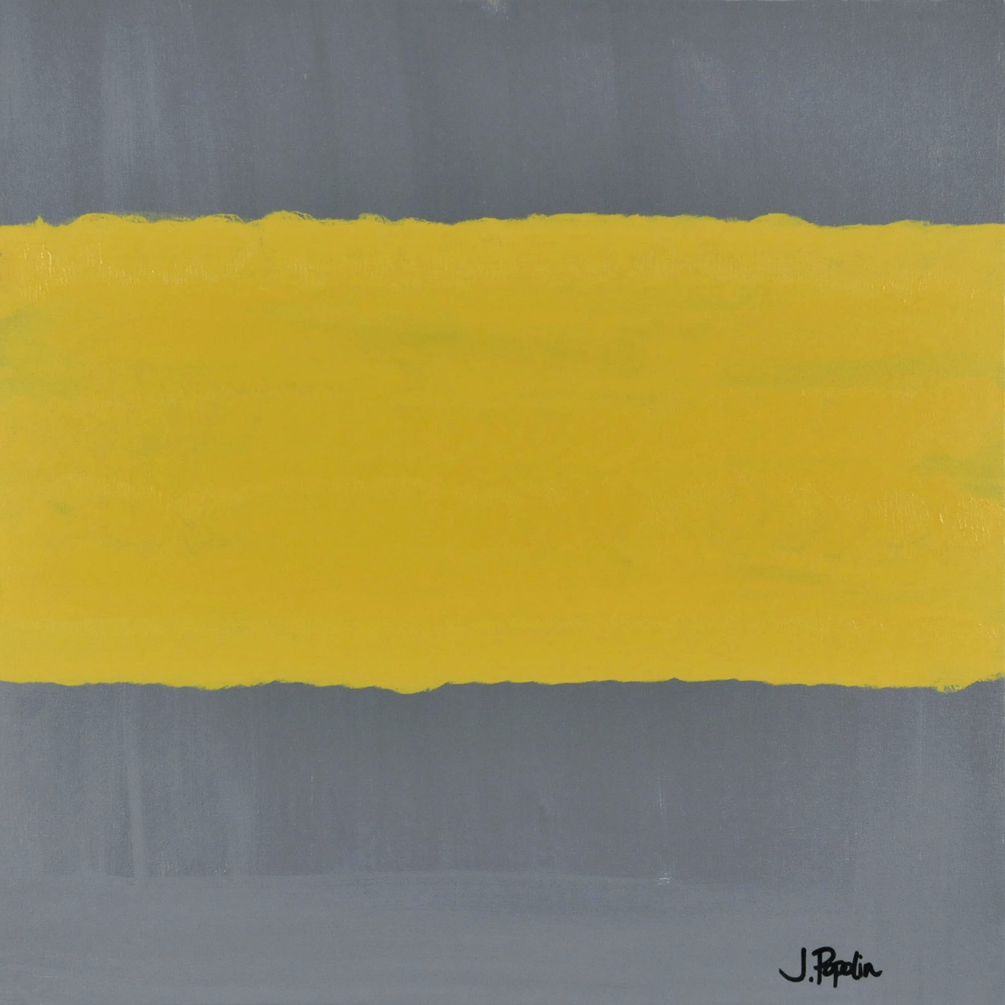 "J. Popolin Original Contemporary Acrylic on Canvas ""Grey with Yellow Field"""