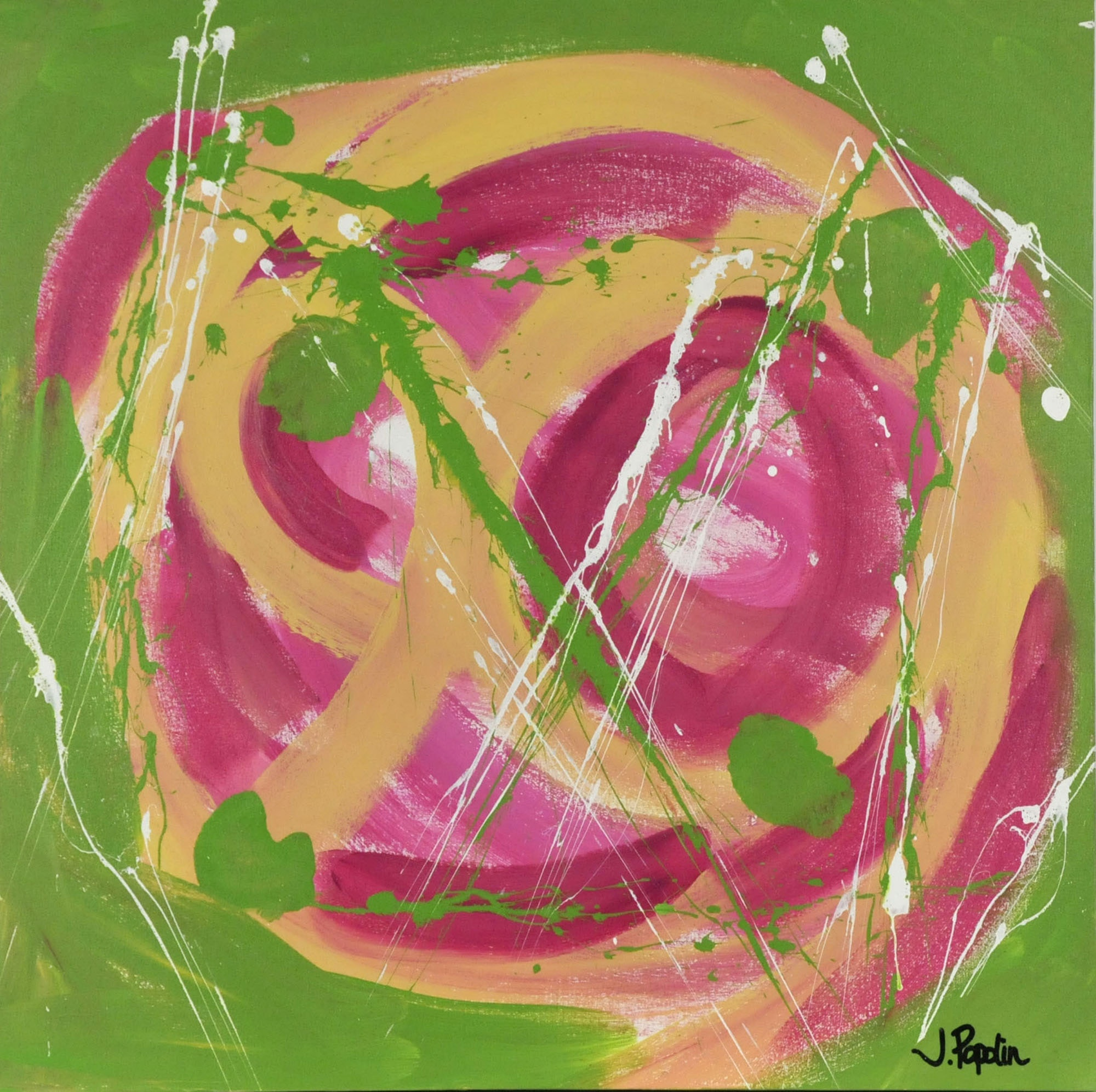 "J. Popolin Original  Acrylic on Canvas ""Green, Pink, Peach Circular Motion"""