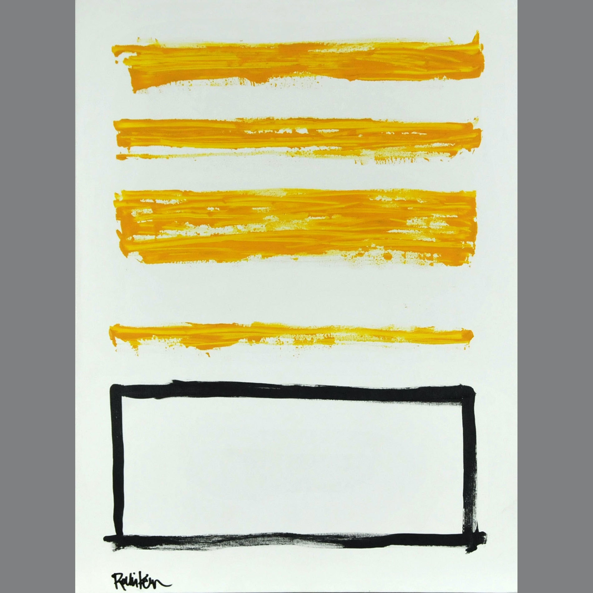 "Robbie Kemper Original Acrylic on Canvas ""Yellow with Black Rectangle"""