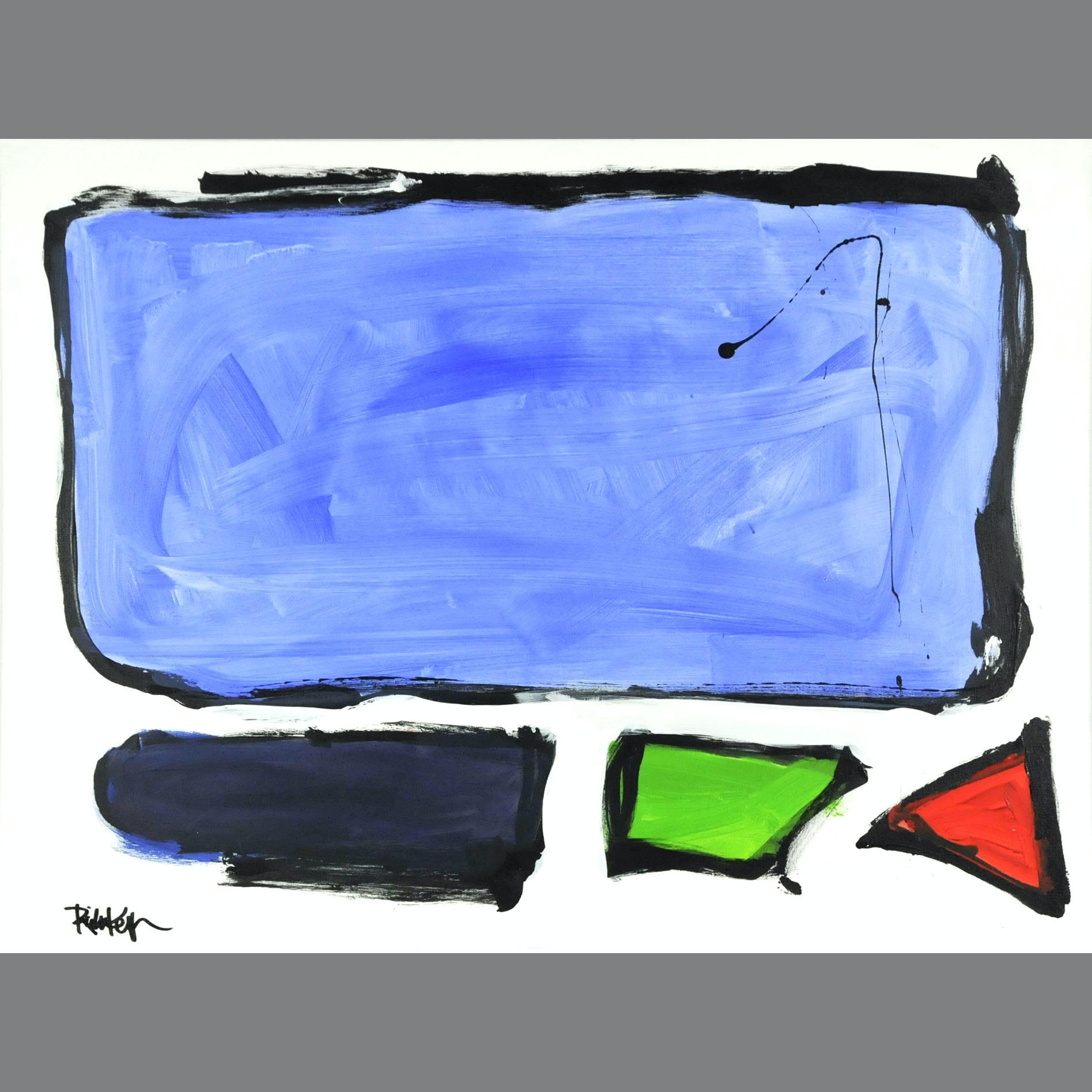 "Robbie Kemper Original Acrylic on Canvas ""Bluish Rectangle"""