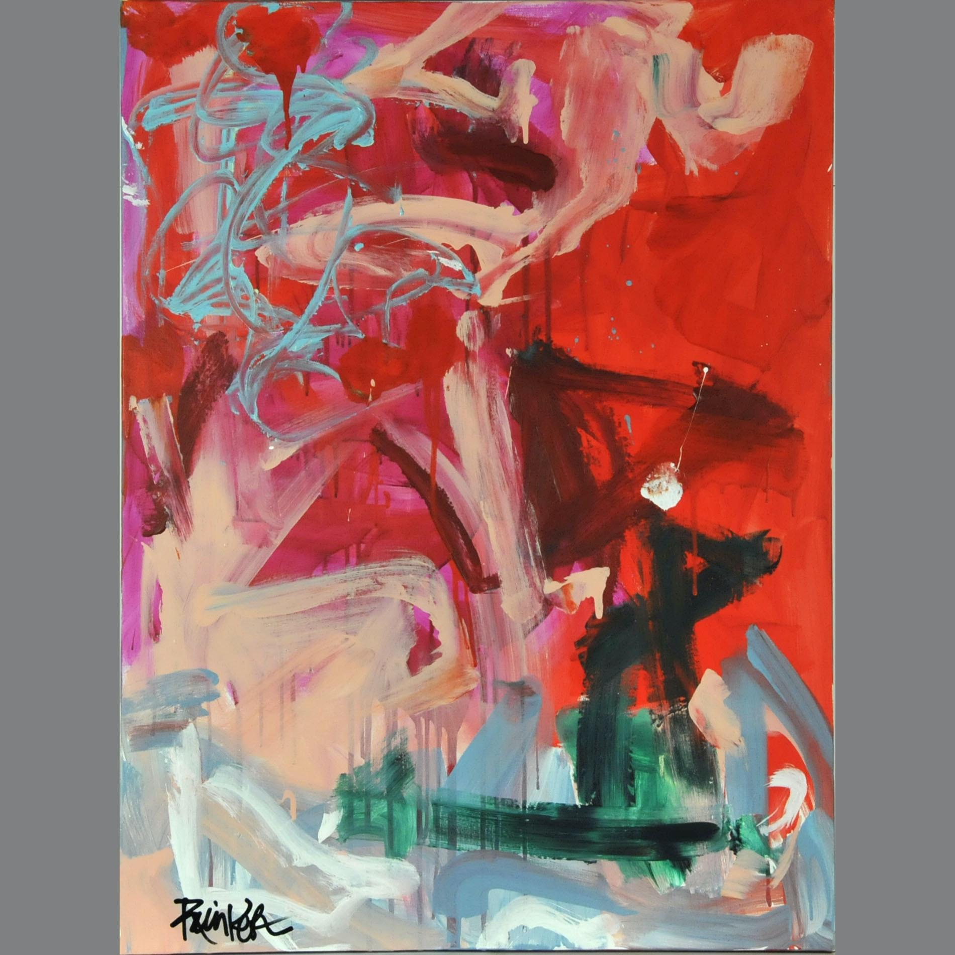 "Robbie Kemper Original Acrylic on Canvas ""Orange over Blue"""