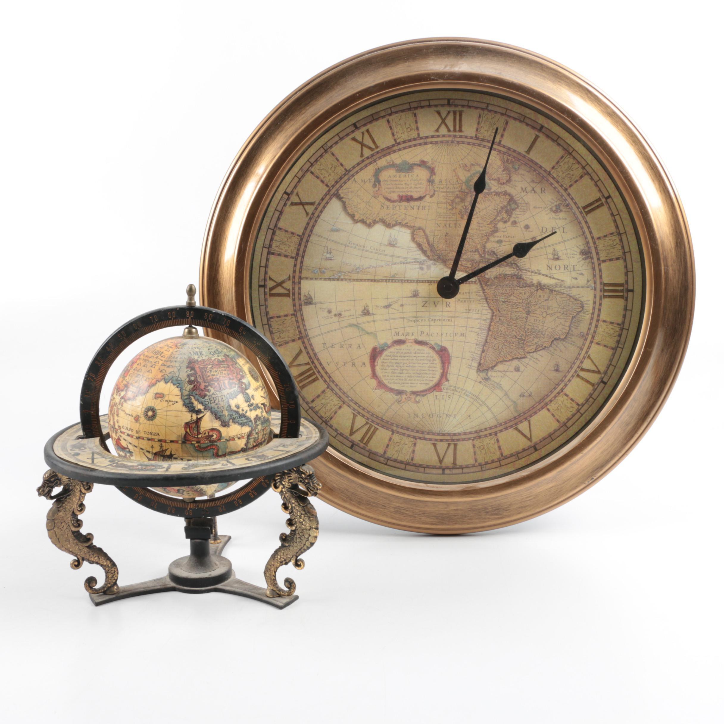 Small Globe and Wall Clock
