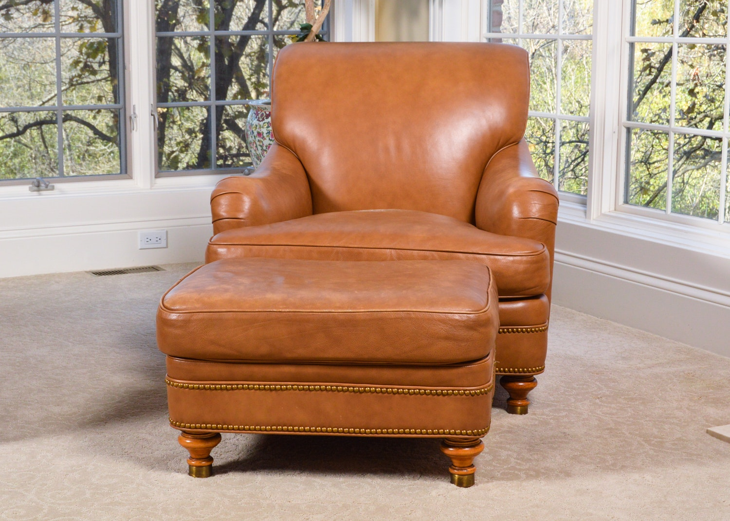 Leather Club Chair and Ottoman by Hancock & Moore