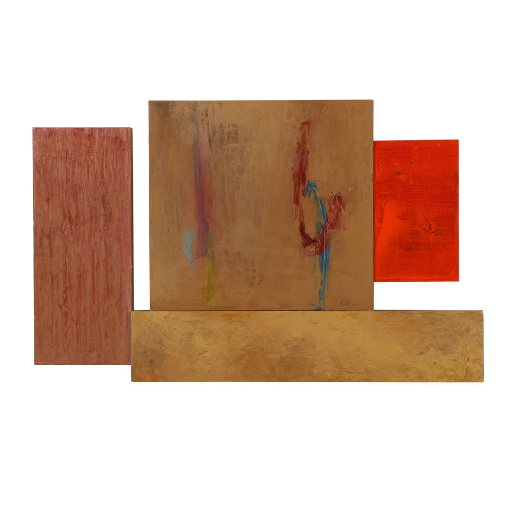Robert Rector Non-Objective Sculptural Oil Painting