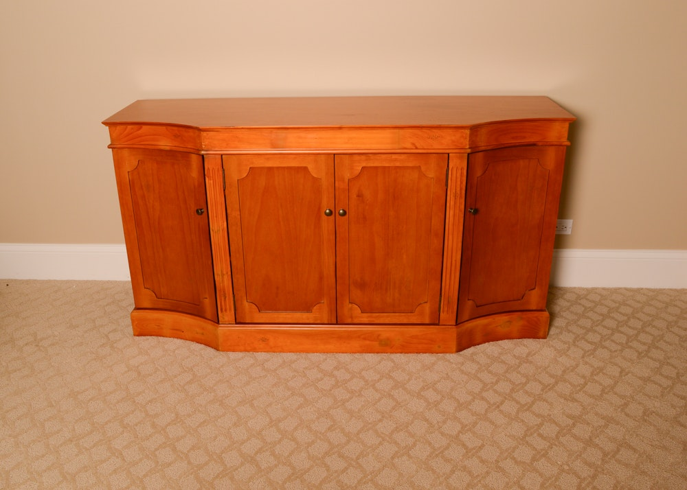 Cherry Stained Credenza Cabinet