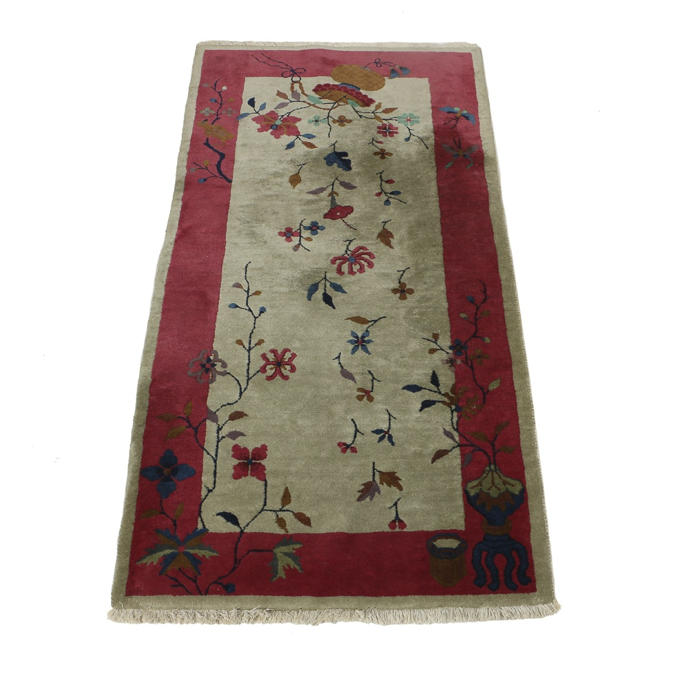 Vintage Chinese Hand Made Wool Rug