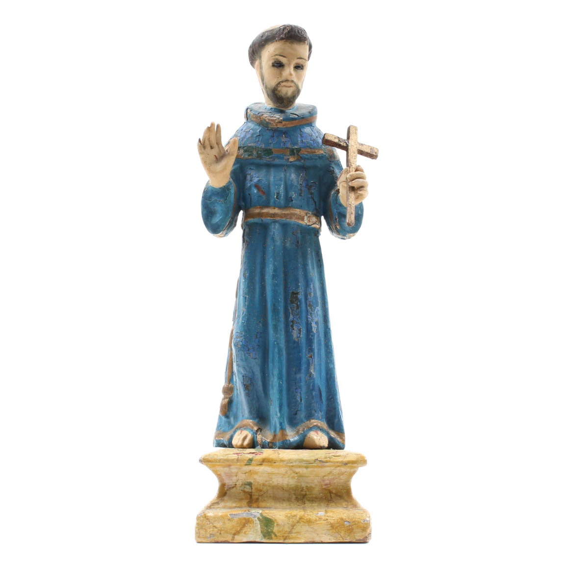 Antique Hand-Painted Saint Francis of Assisi Carving