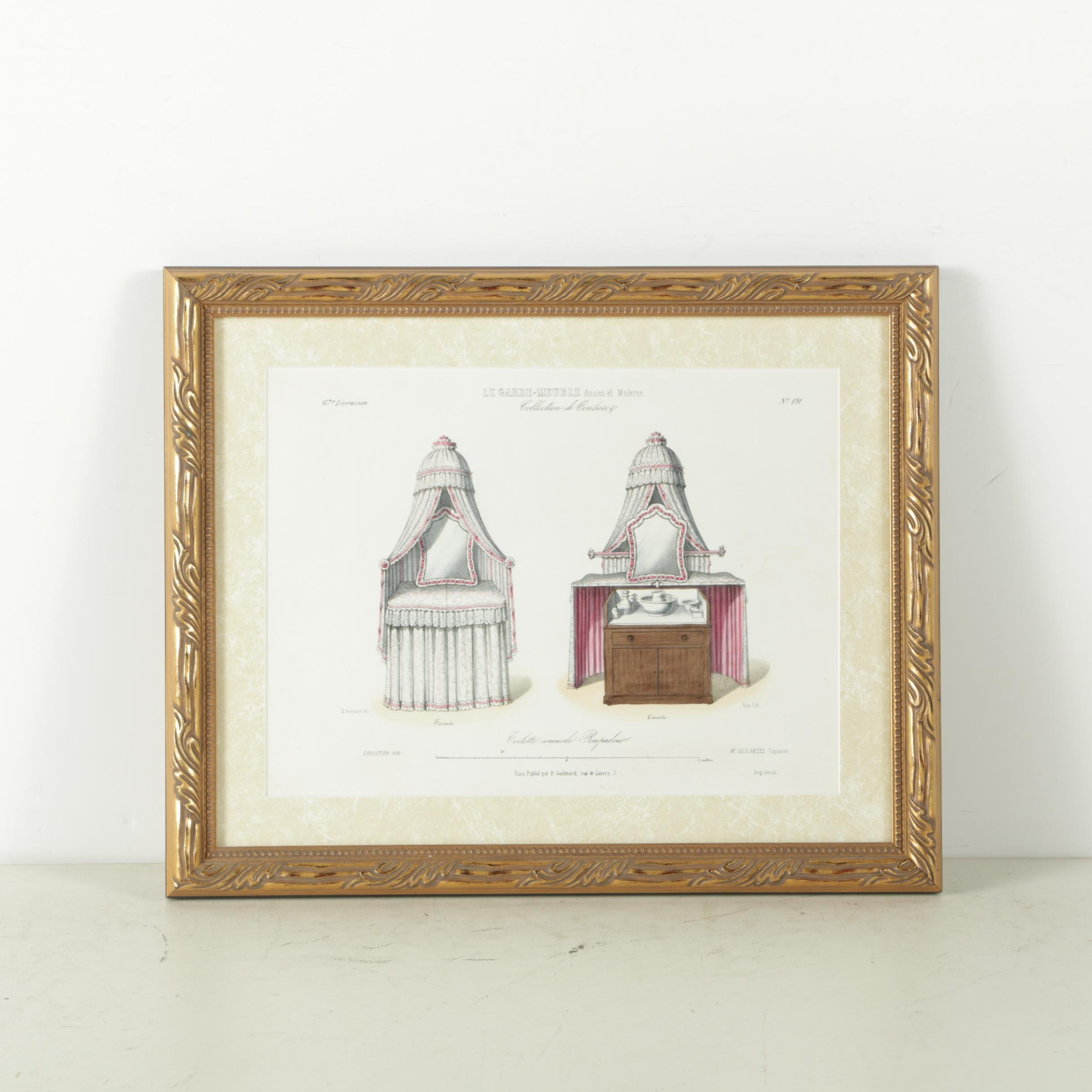 """Hand Colored Lithograph on Paper """"Toilette-commode Pompadour"""""""