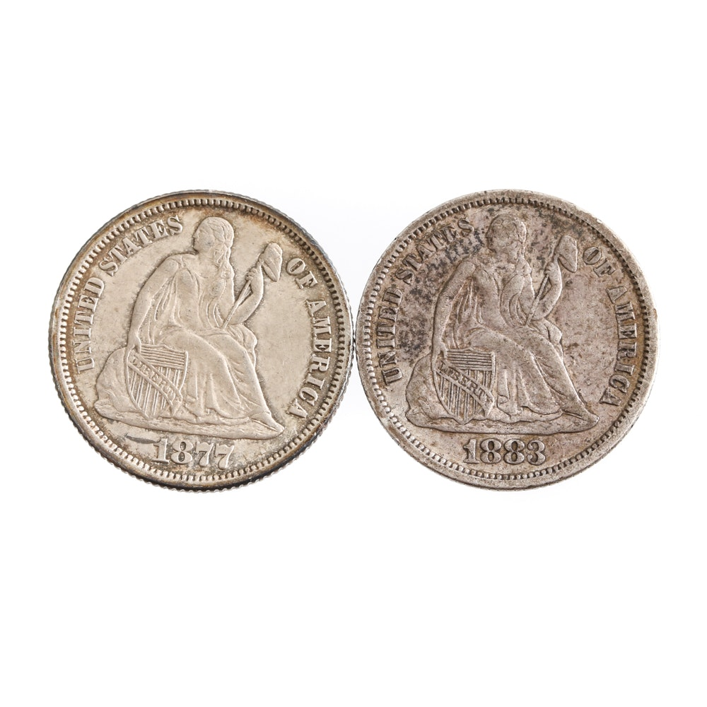1877 and 1883 Liberty Seated Dimes
