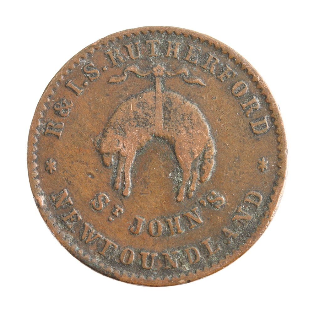 1840s Rutherfords Bros. 1/2 Penny Hard Times Token