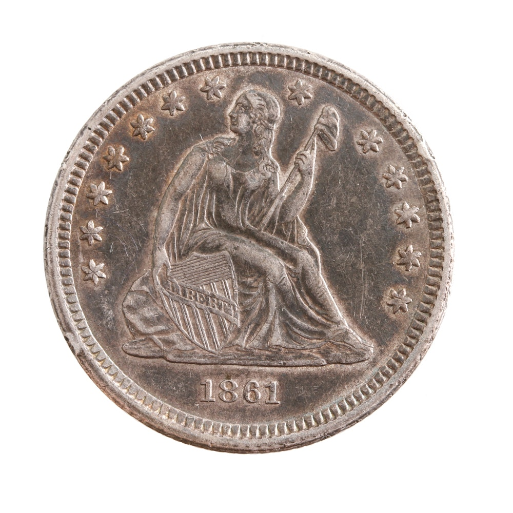 1861 Liberty Seated Silver Quarter