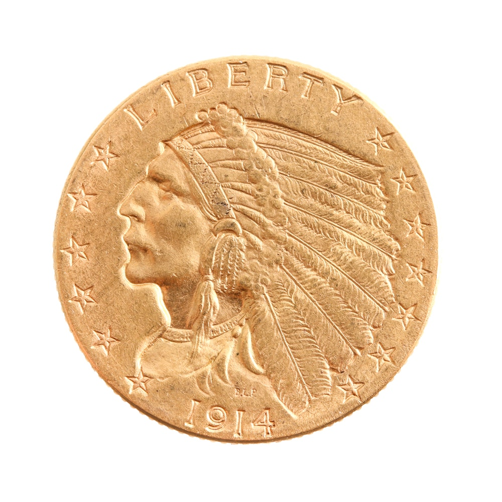 1914 Indian Head $2.50 Quarter Eagle Gold Dollar