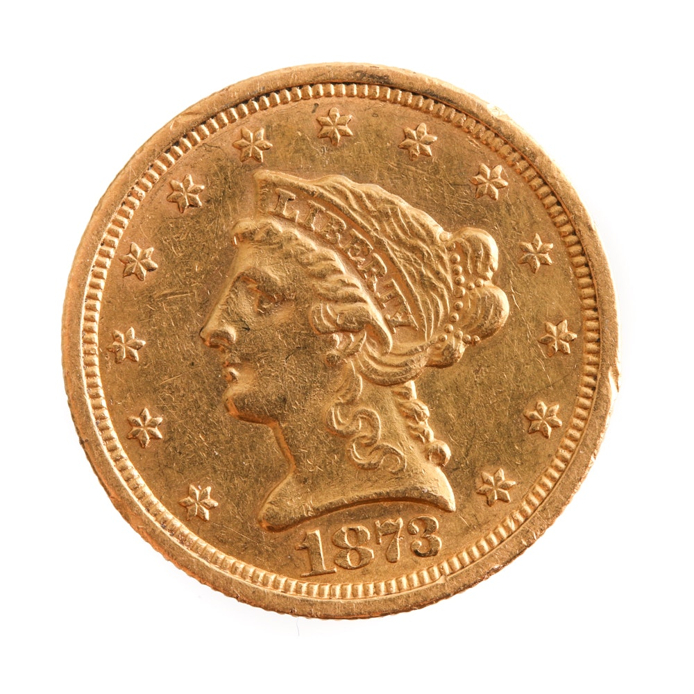 1873 Quarter Eagle $2.50 Gold Coin