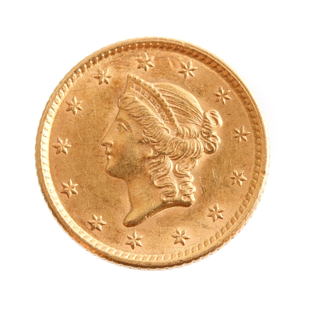1852 Liberty Head Gold Dollar 'Closed Wreath'