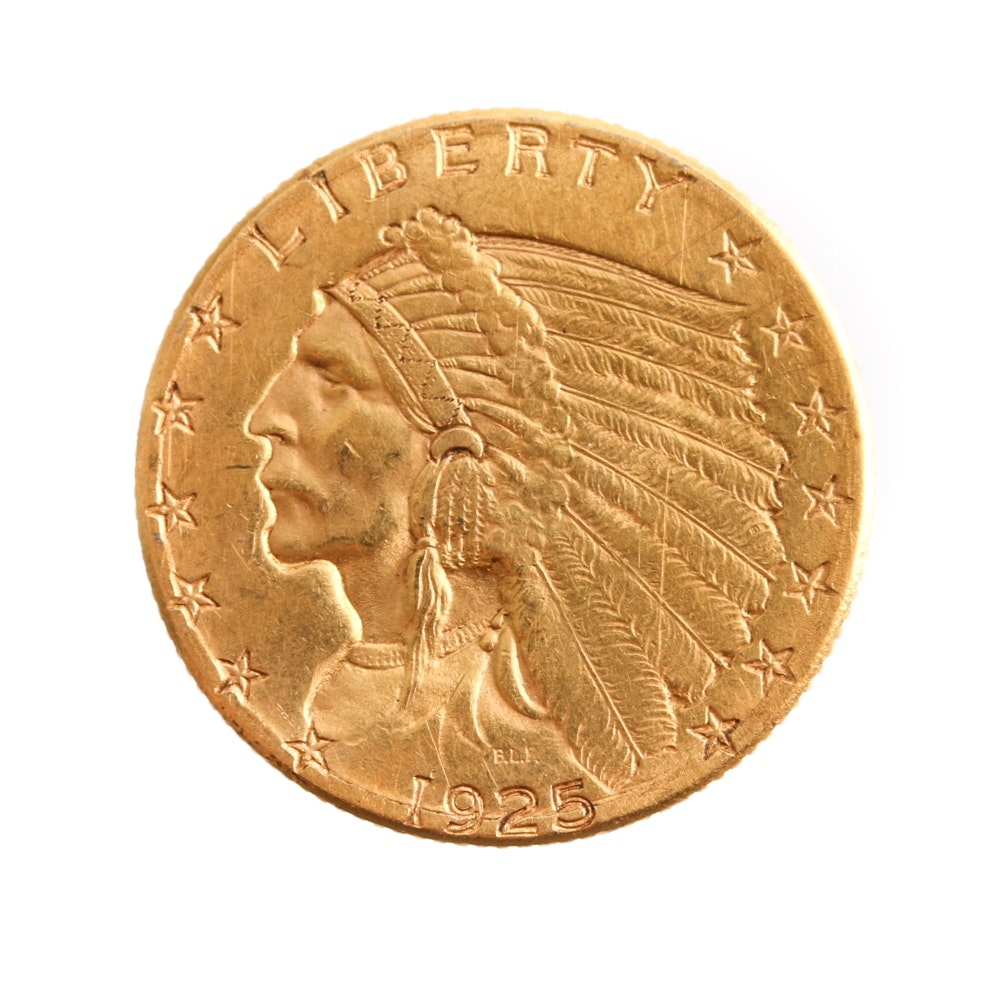 1925 D Indian Head Gold $2.50 Quarter Eagle